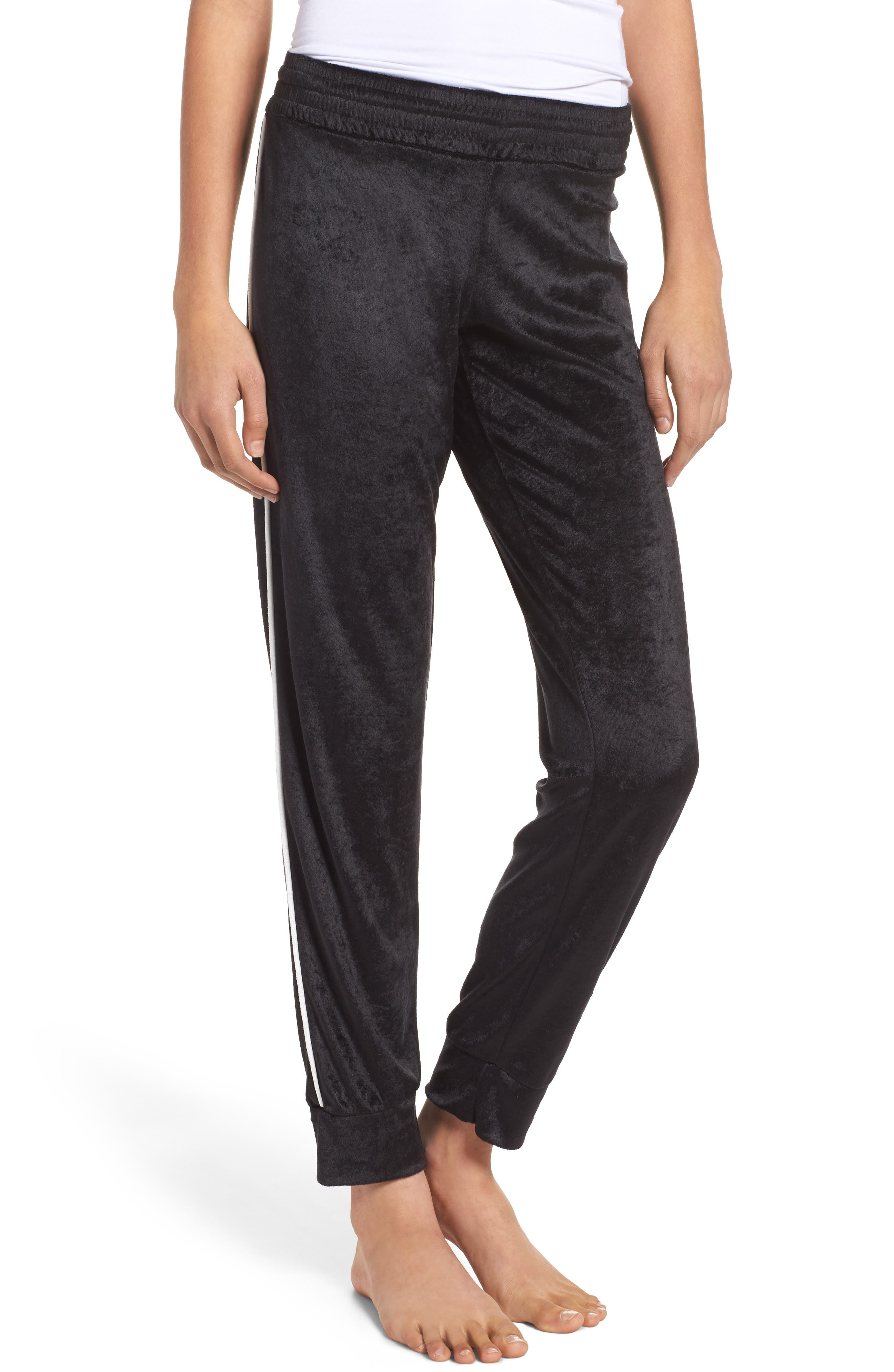 Galaxy Velour Lounge Track Pants,                         Main,                         color, Black/ White