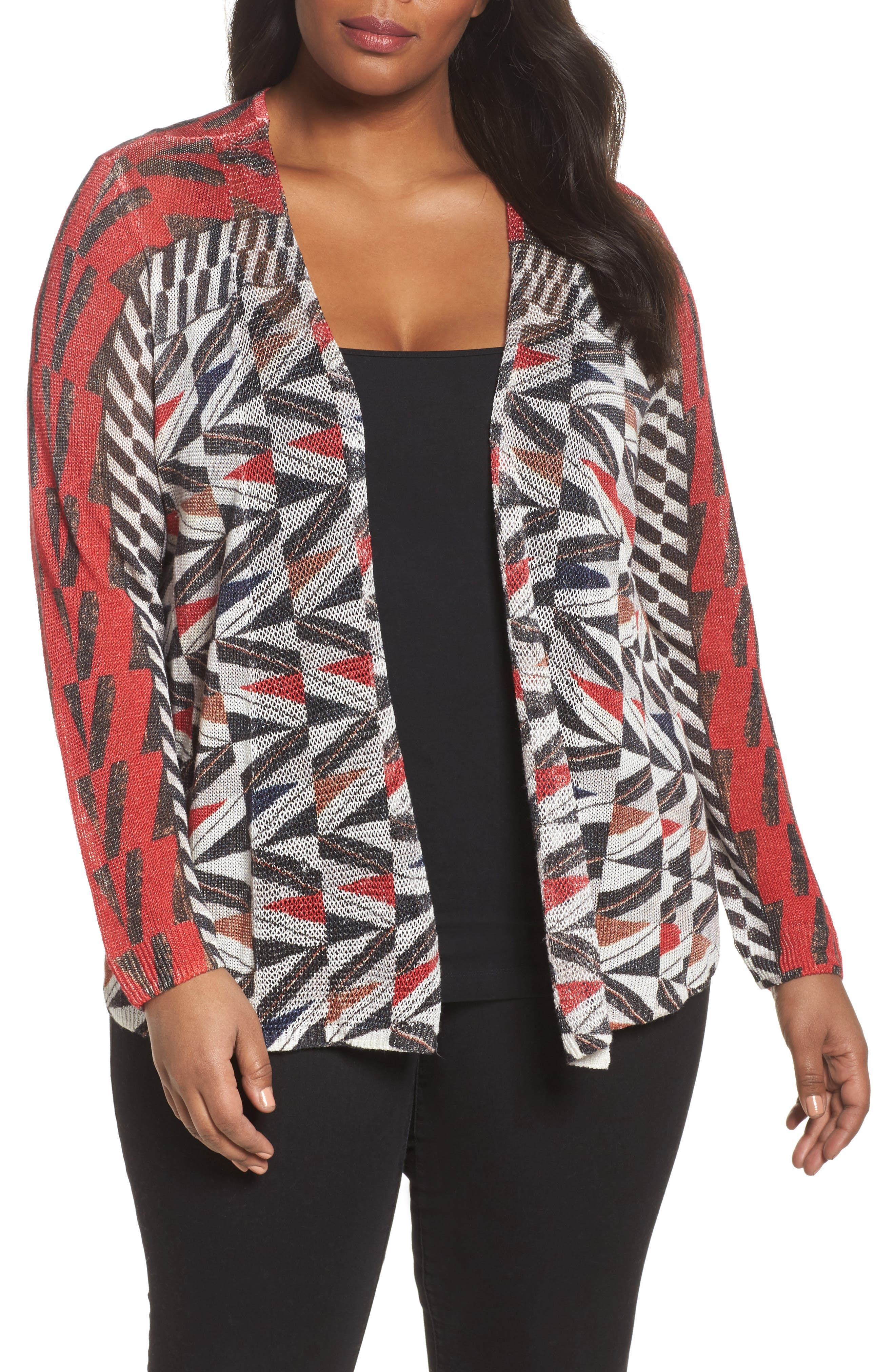 Zigzag Open Front Cardigan,                             Main thumbnail 1, color,                             Multi