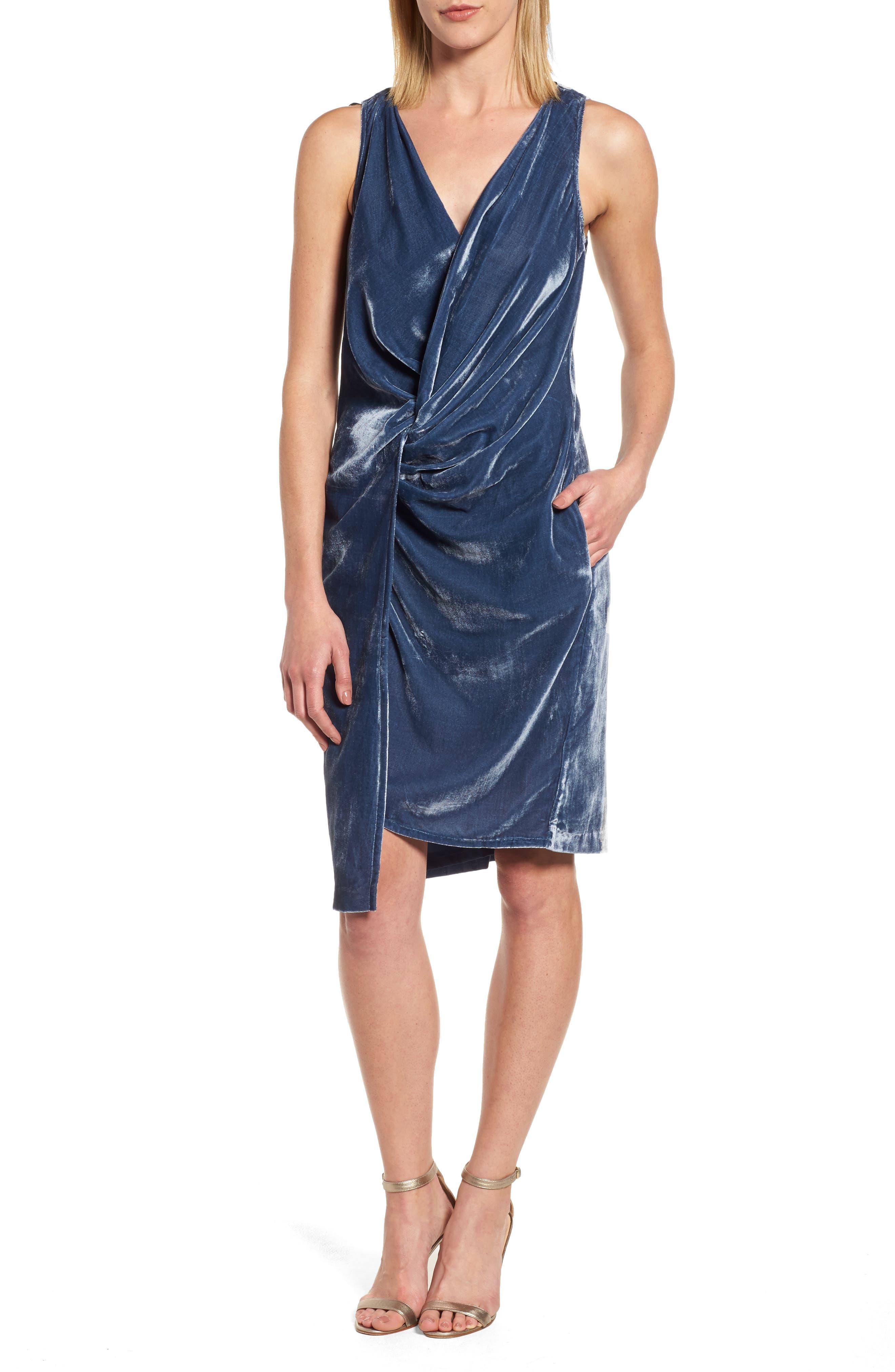 Kenneth Cole Twisted Faux Wrap Velvet Dress,                         Main,                         color, Splatter Blue
