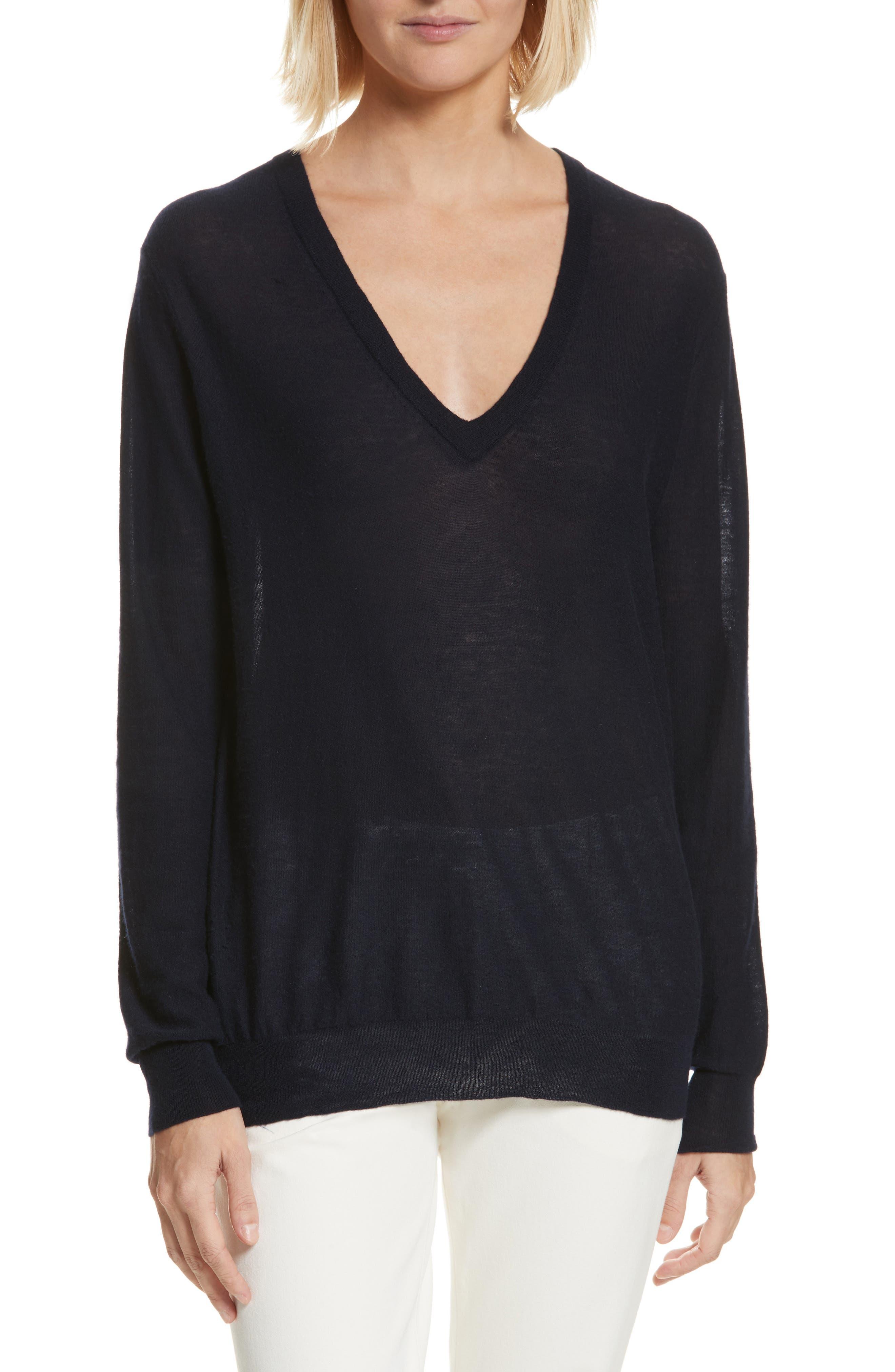 V-Neck Cashair Cashmere Sweater,                         Main,                         color, Navy