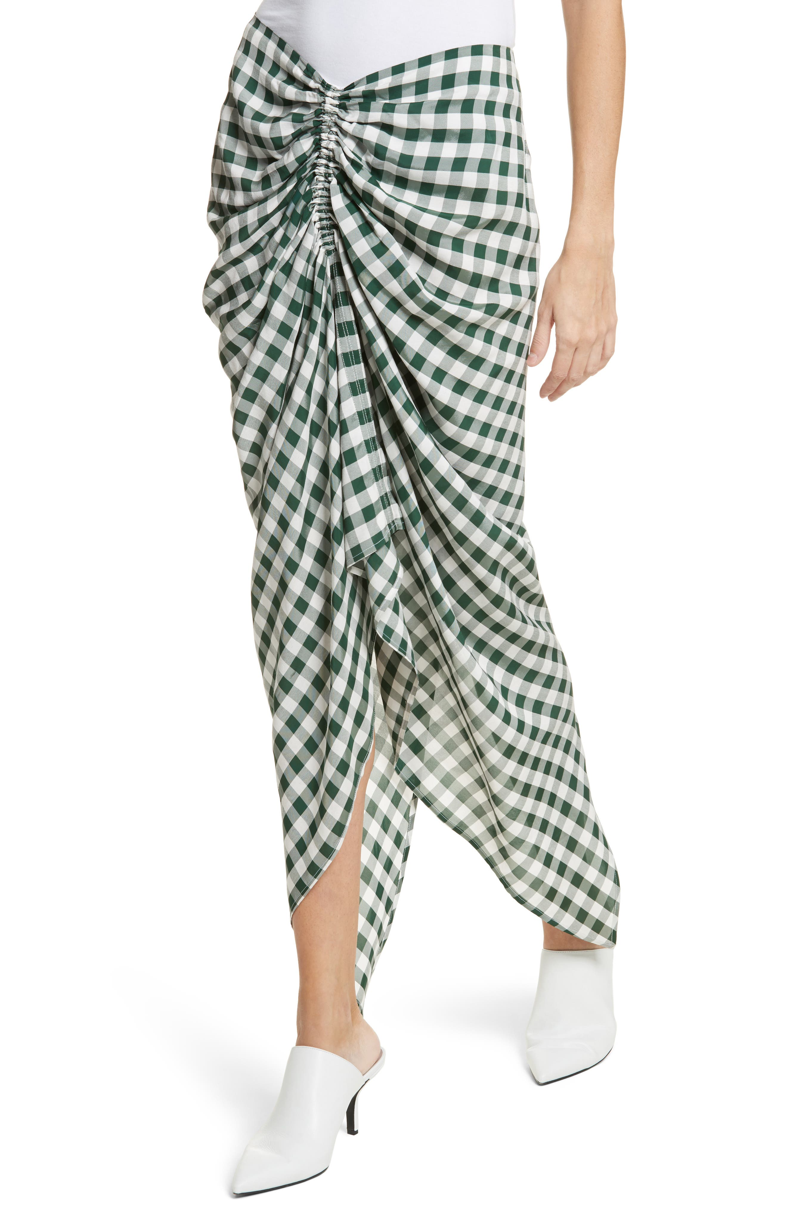 Roman Gingham Jacquard Skirt,                             Alternate thumbnail 4, color,                             Emerald