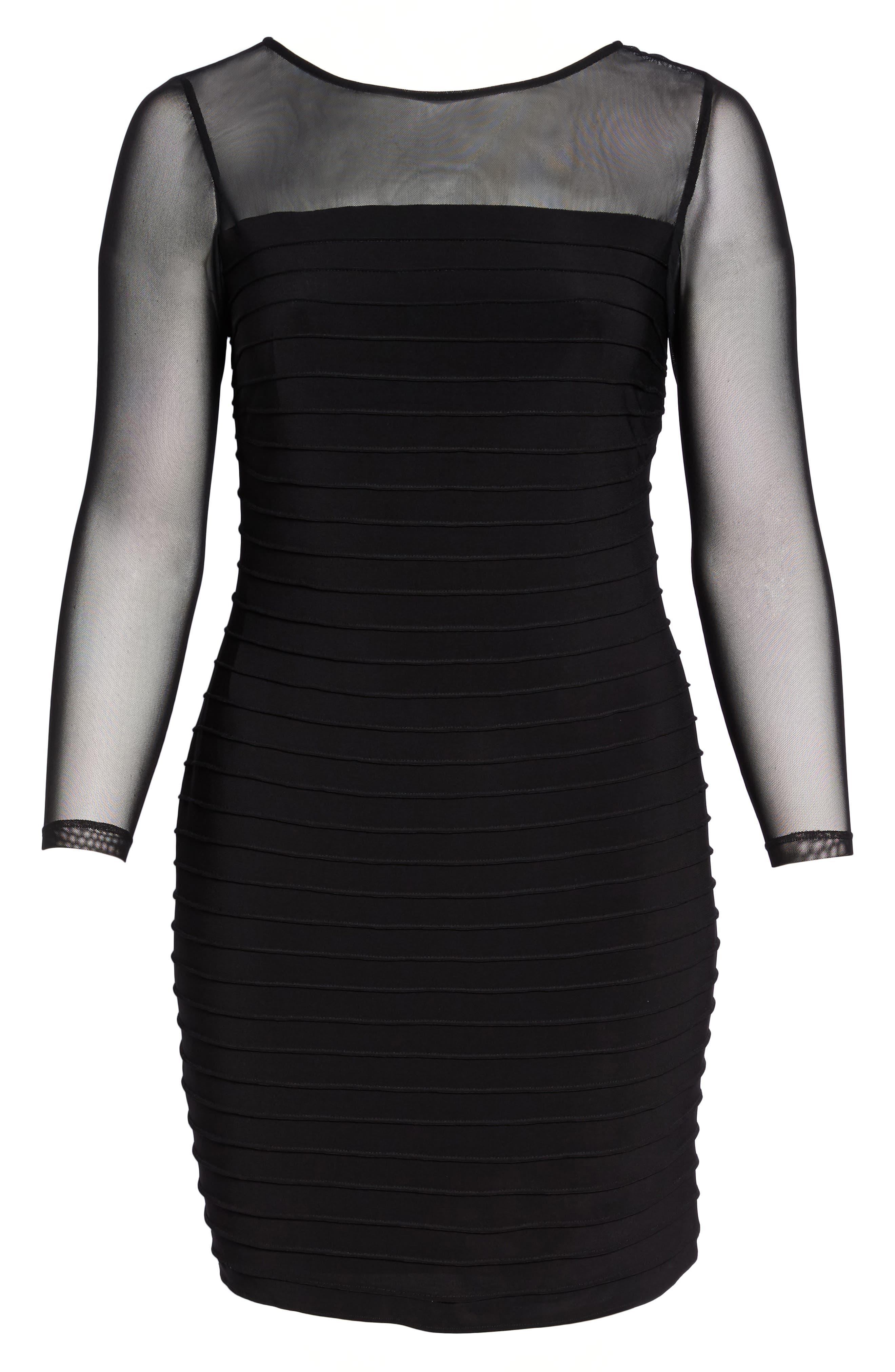 Pintuck Sheath Dress,                             Alternate thumbnail 6, color,                             Black