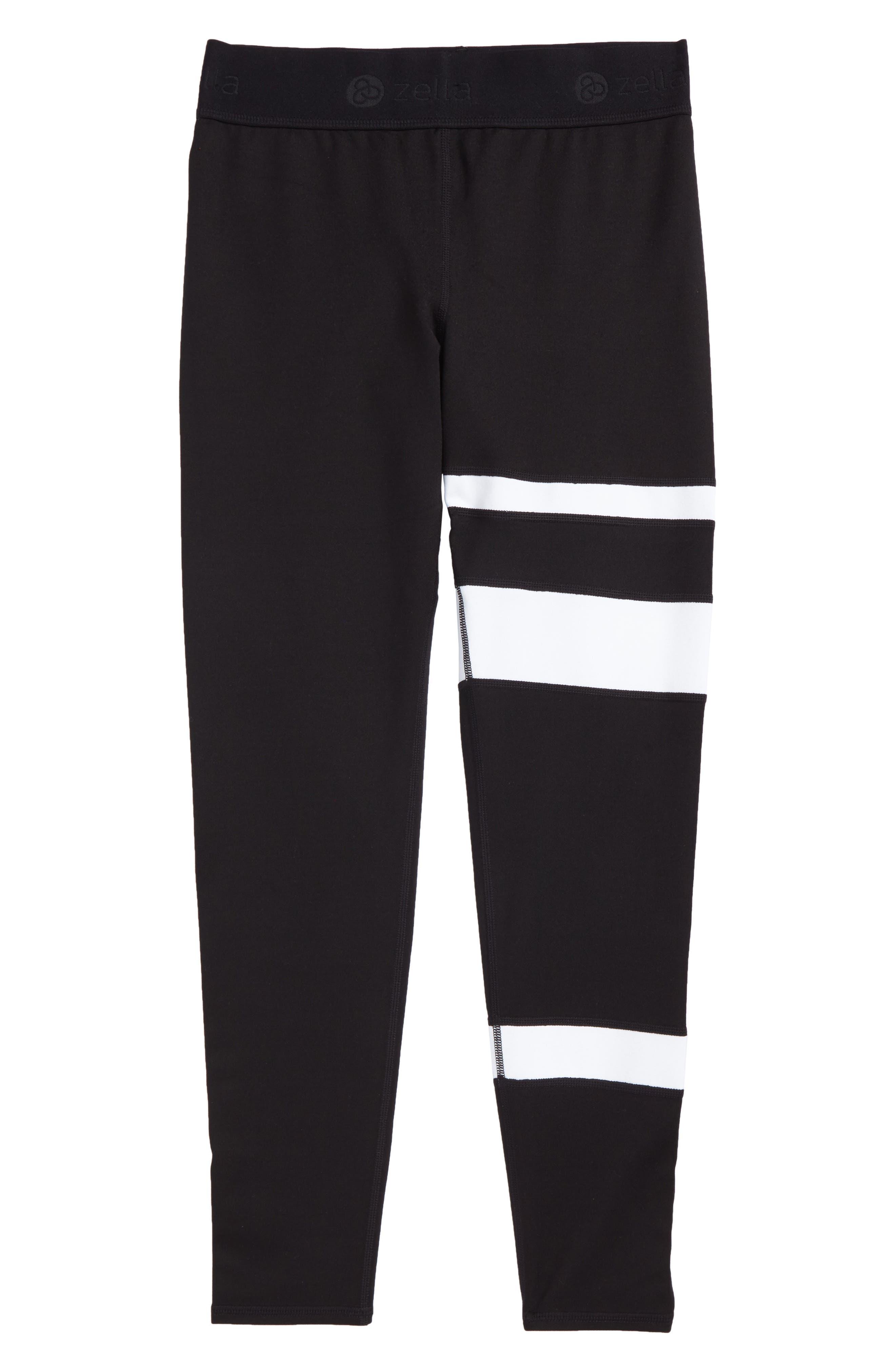 Zella Stripe Leggings,                         Main,                         color, Black- White Stripes