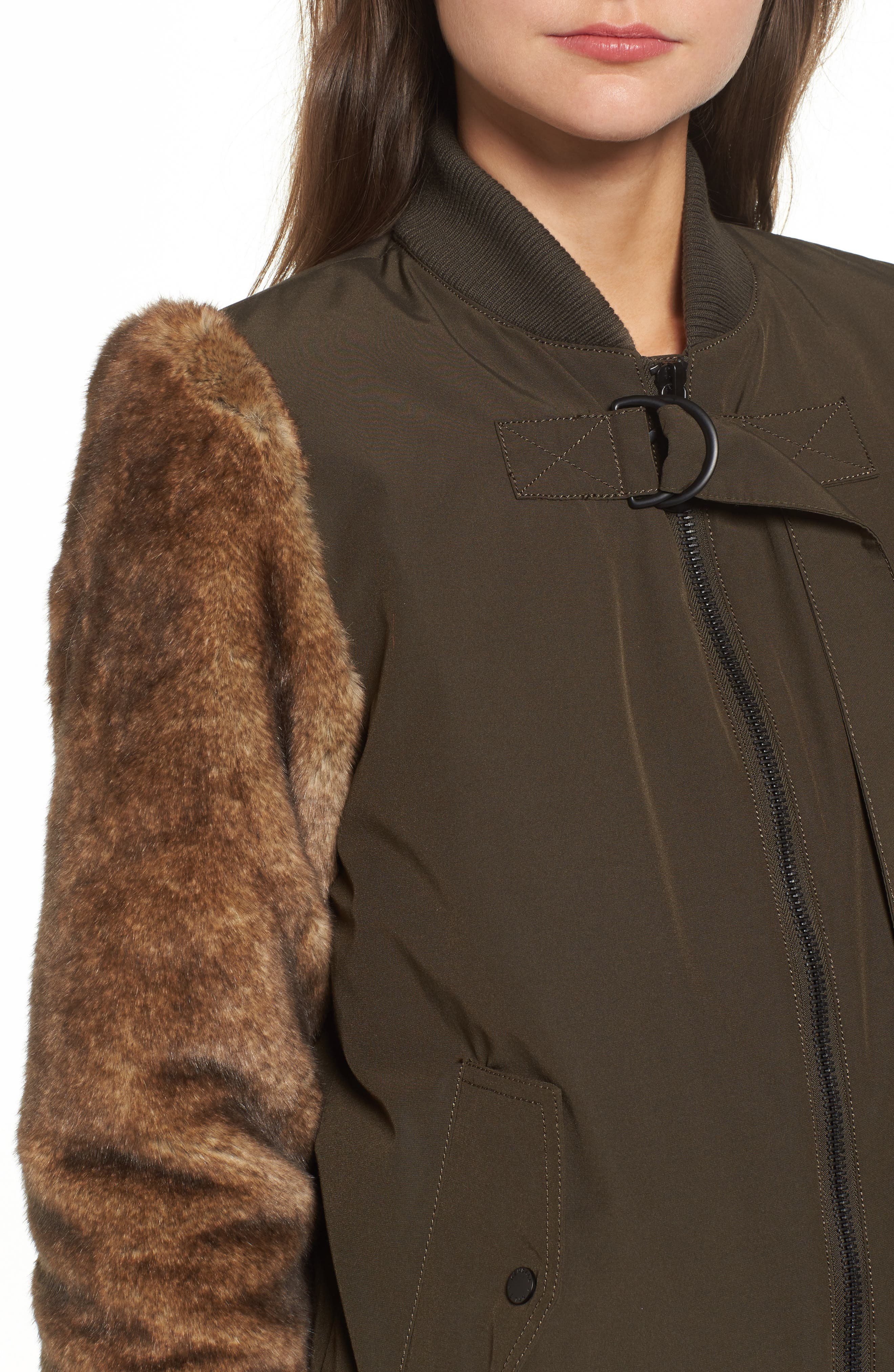 Faux Fur Sleeve Bomber Jacket,                             Alternate thumbnail 4, color,                             Army Green
