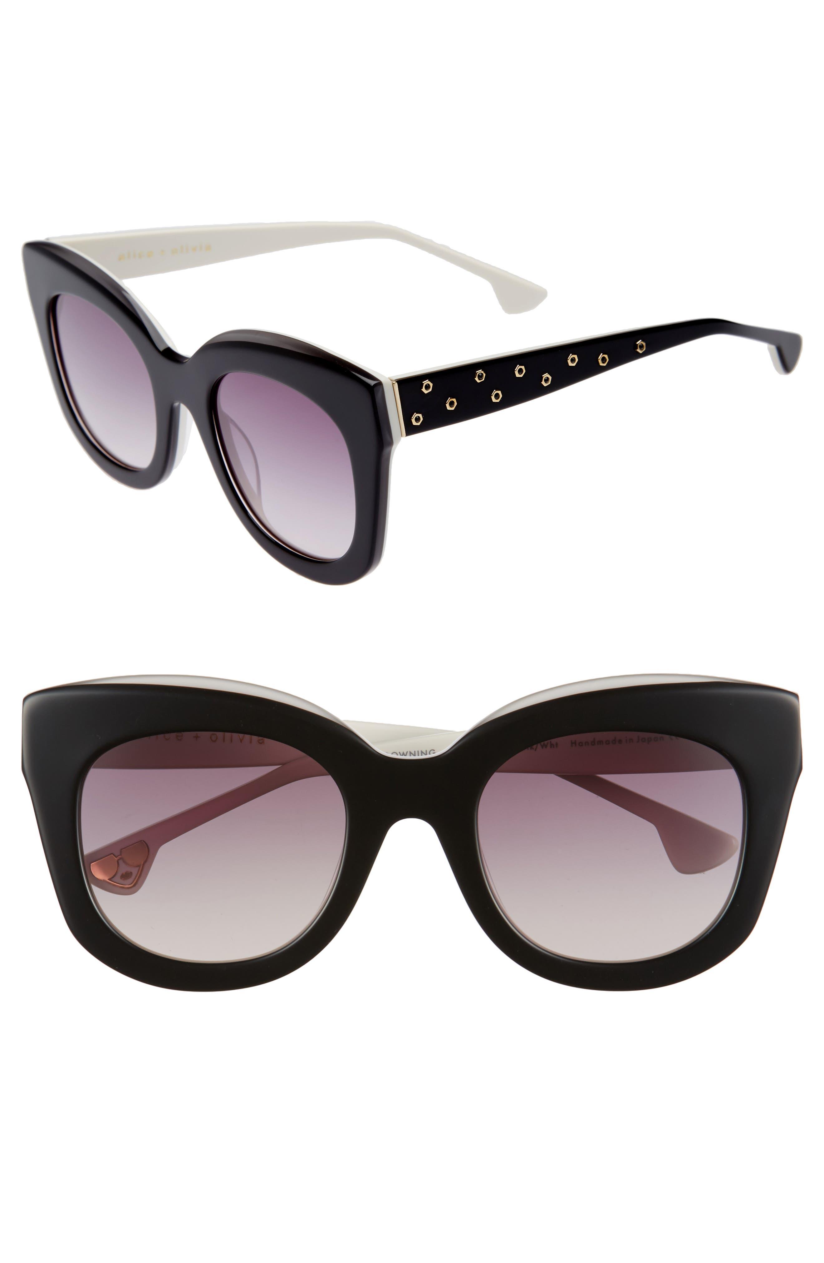 Downing 51mm Cat Eye Sunglasses,                             Main thumbnail 1, color,                             Black/ White