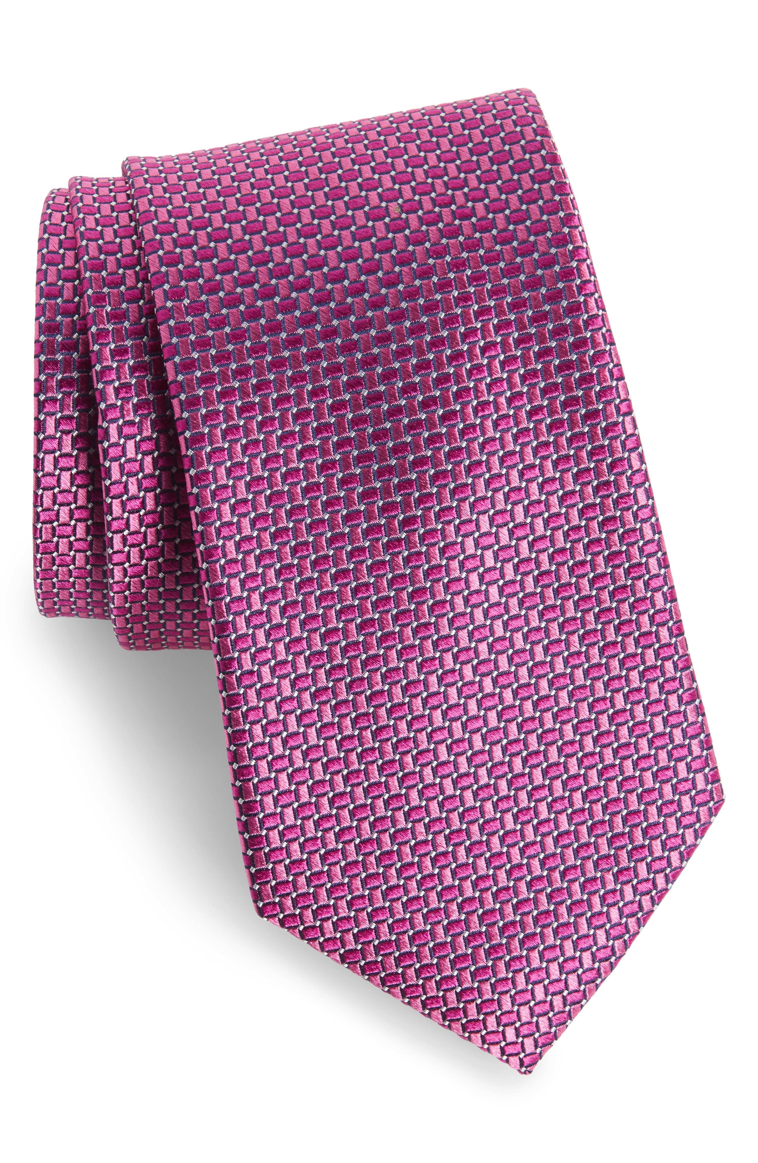 Basketweave Silk Tie,                             Main thumbnail 1, color,                             Bright Pink