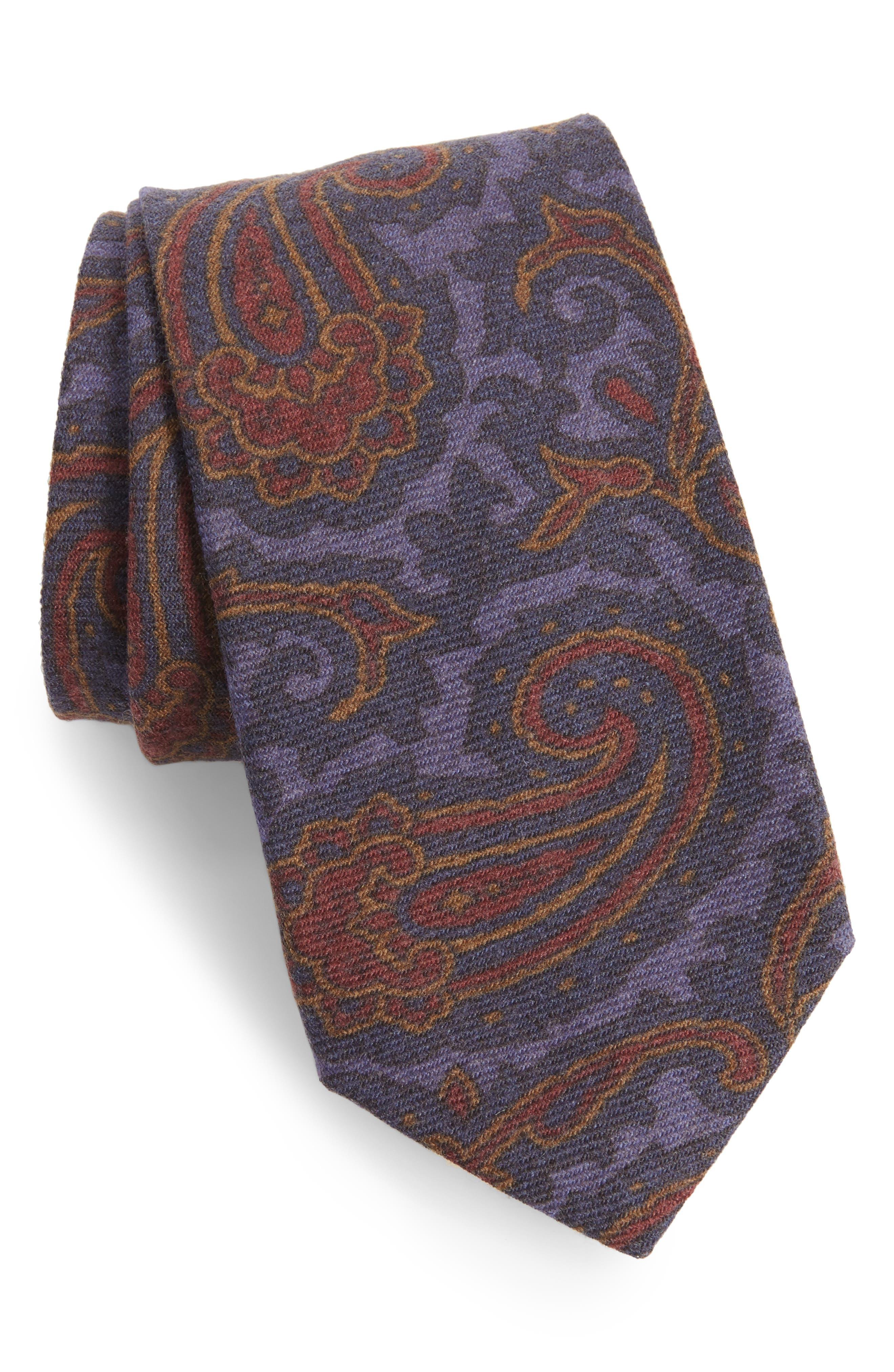 Paisley Wool Tie,                         Main,                         color, Blue