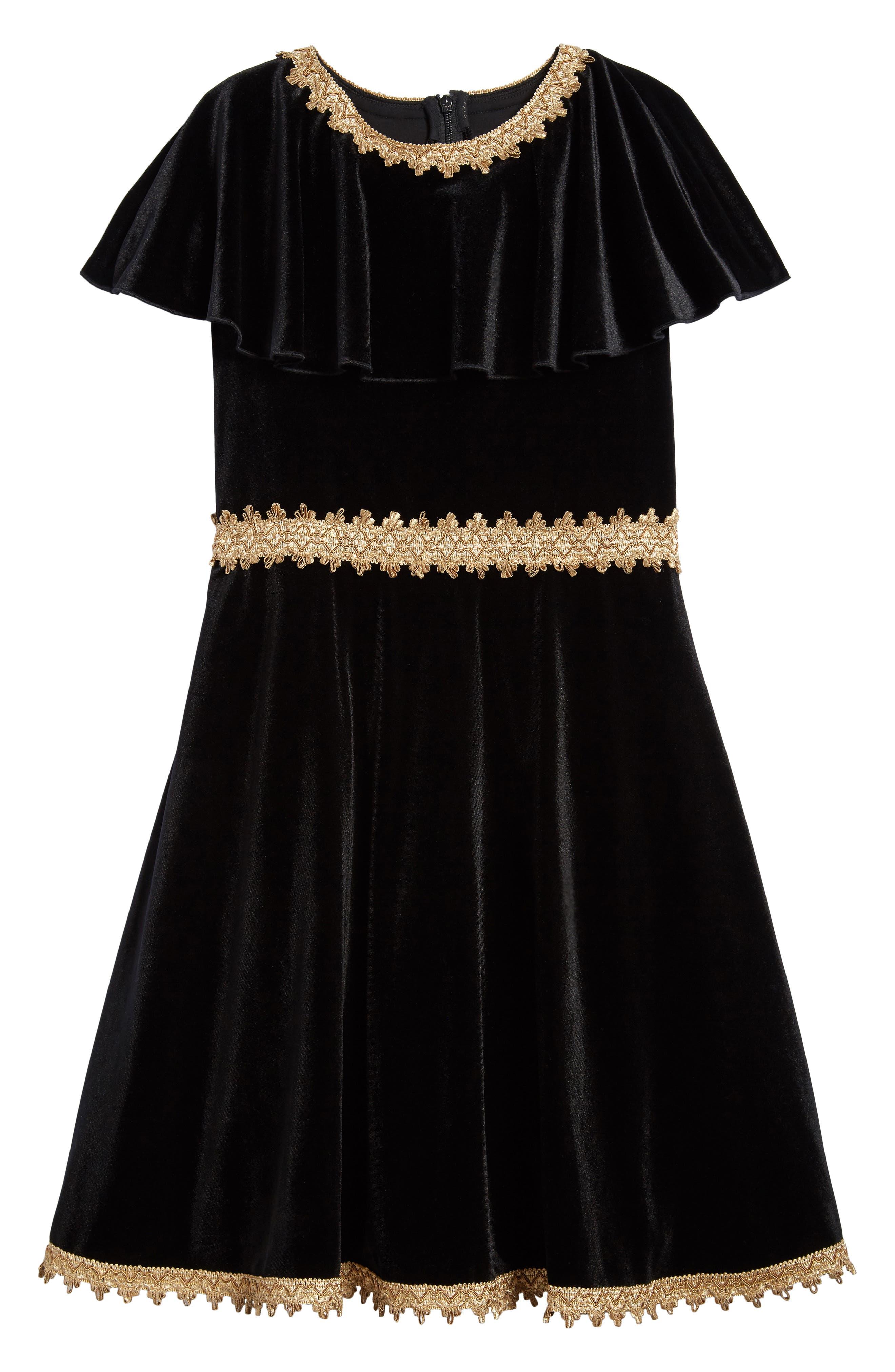 Velvet Dress,                             Main thumbnail 1, color,                             Black/ Gold