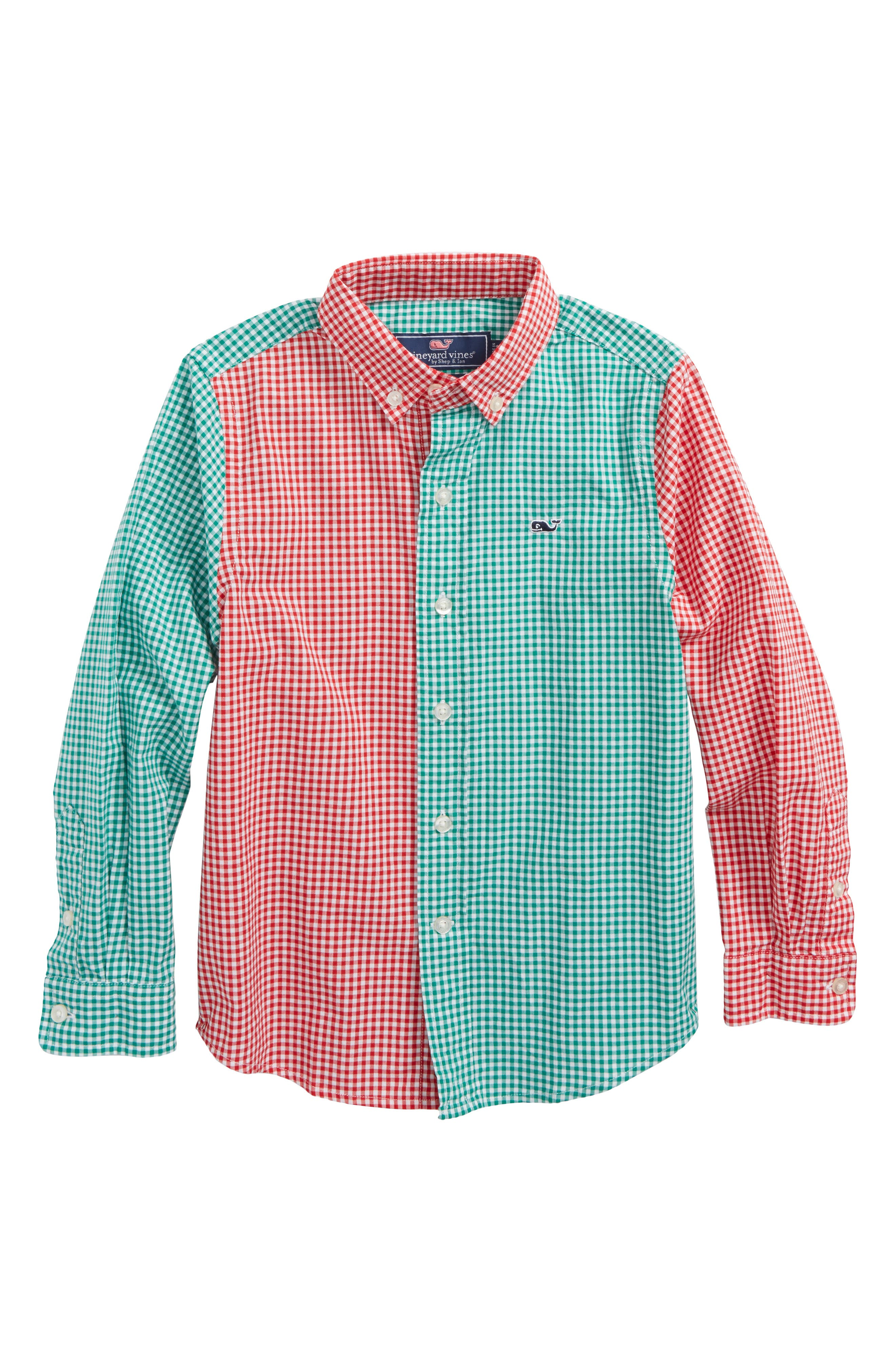 Alternate Image 1 Selected - vineyard vines Party Gingham Plaid Shirt (Big Boys)