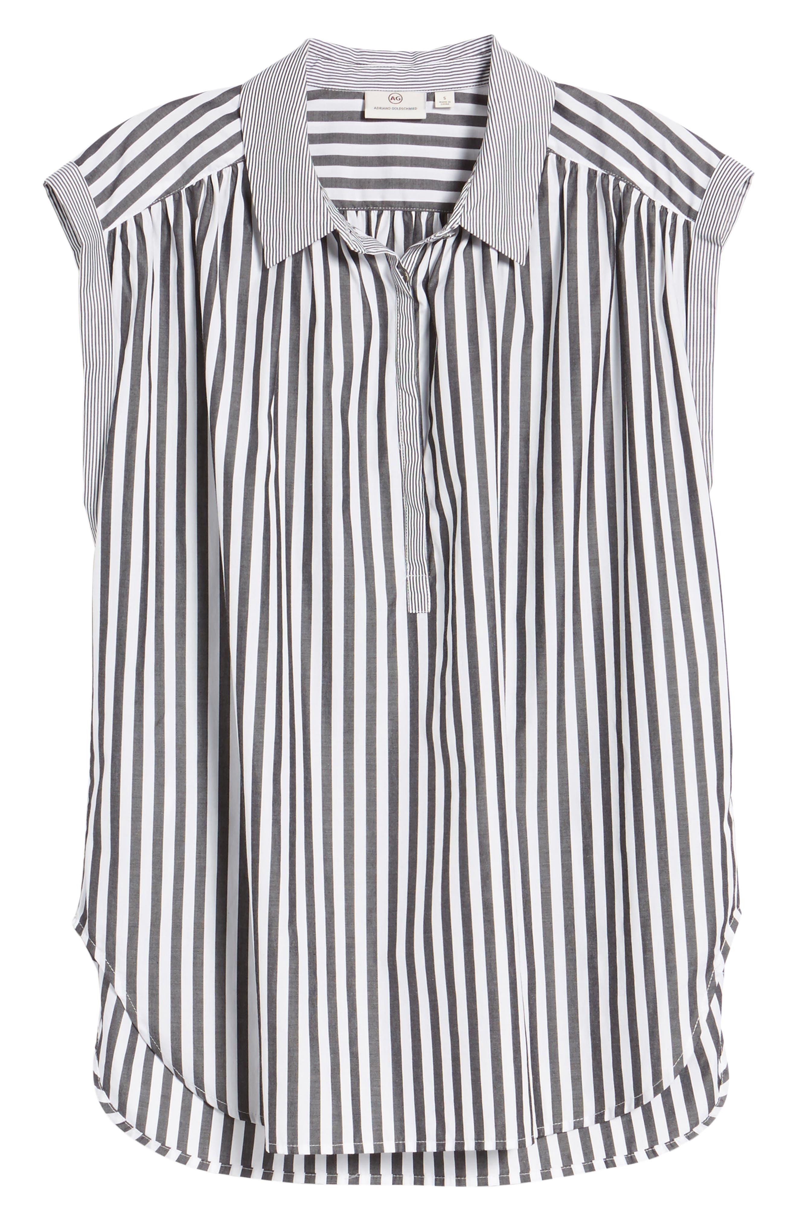 Abigail Stripe Top,                             Alternate thumbnail 6, color,                             Black/ White
