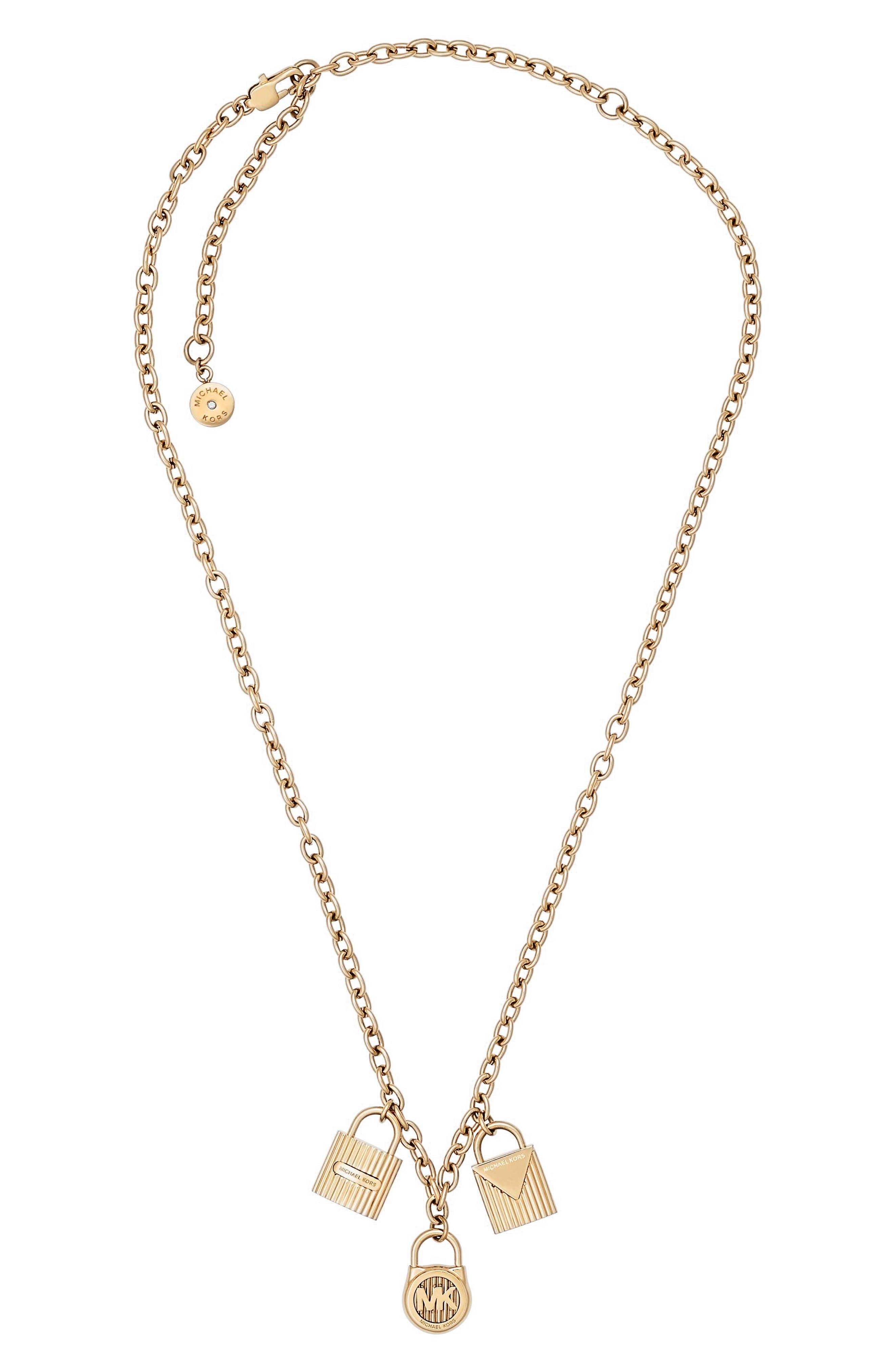 Padlock Charm Pendant Necklace,                         Main,                         color, Gold