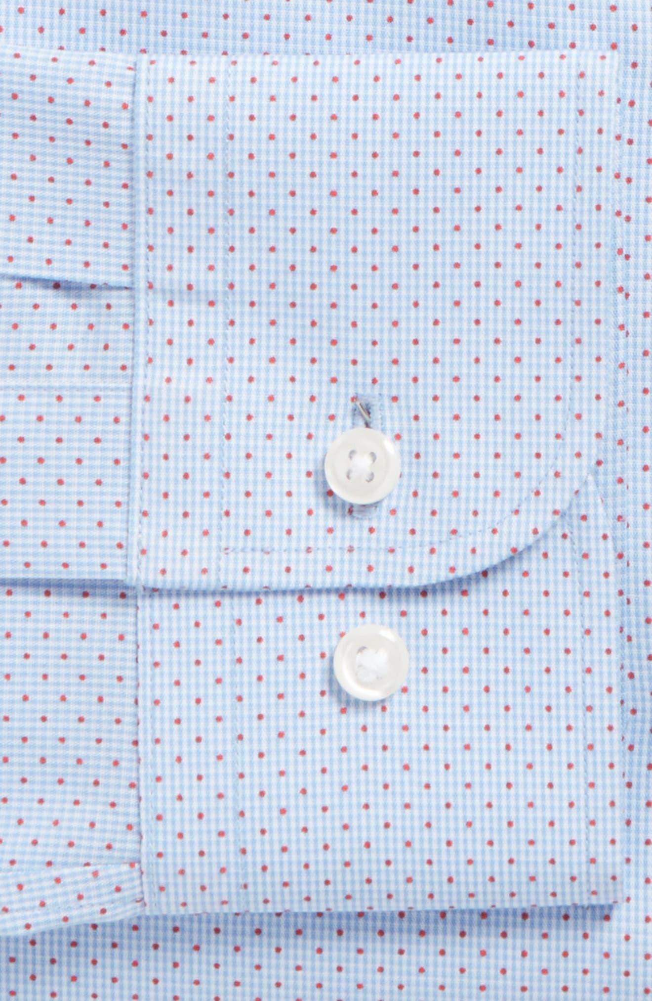 Trim Fit Print Dress Shirt,                             Alternate thumbnail 5, color,                             Blue Provence