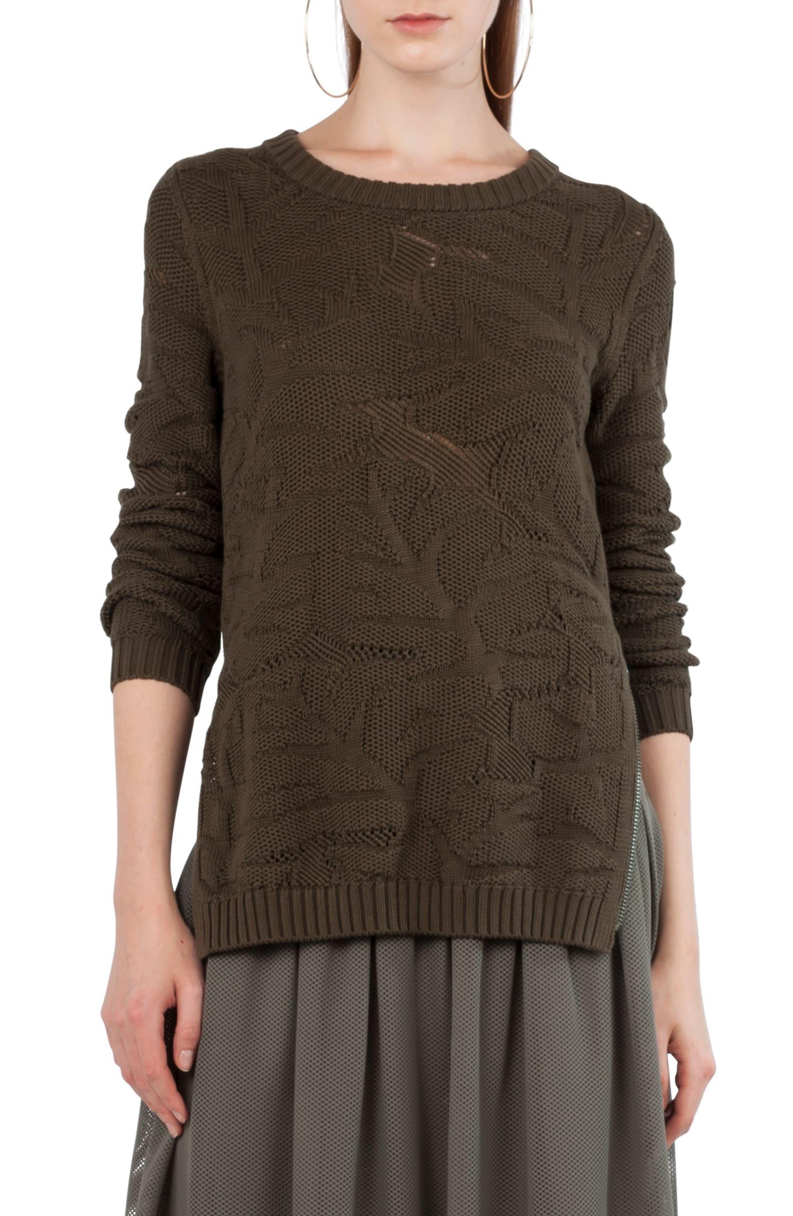 Main Image - Akris punto Tropical Leaf Knit Pullover