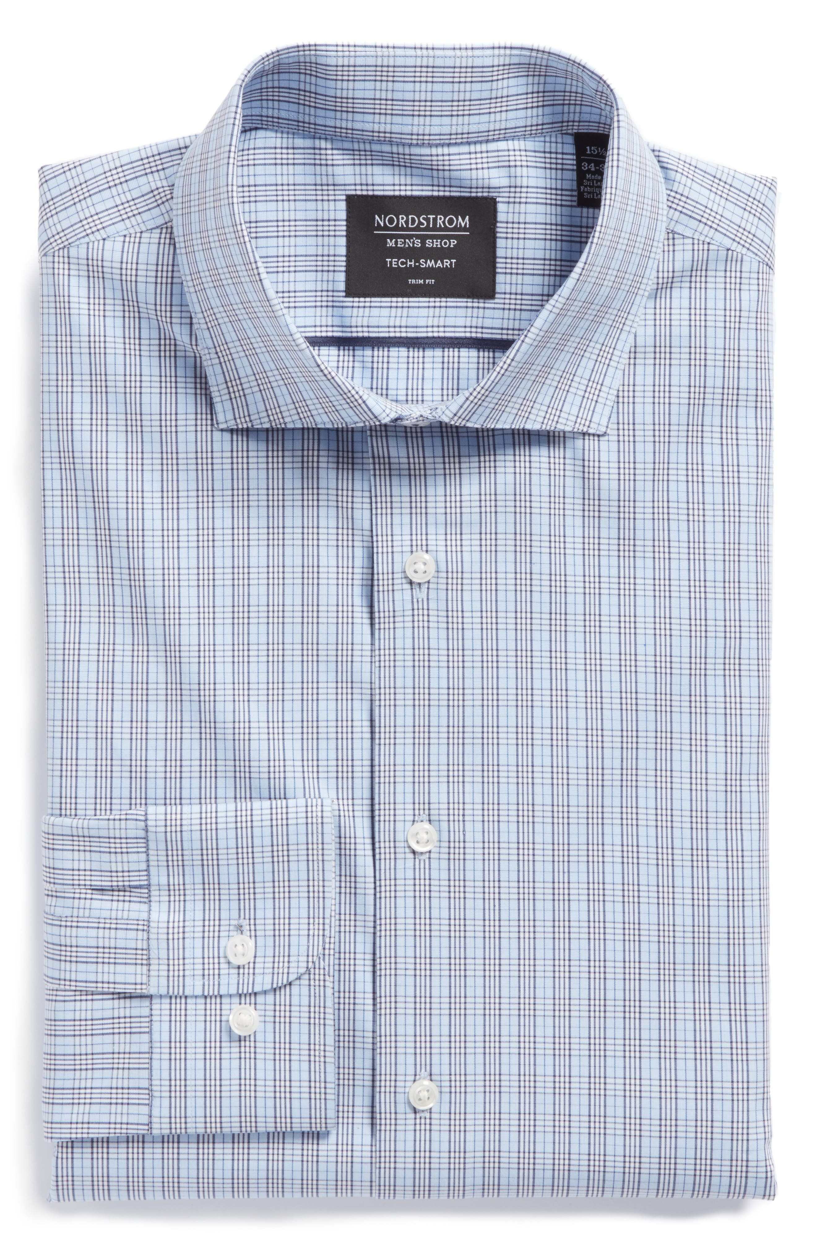 Alternate Image 6  - Nordstrom Men's Shop Tech-Smart Trim Fit Grid Dress Shirt