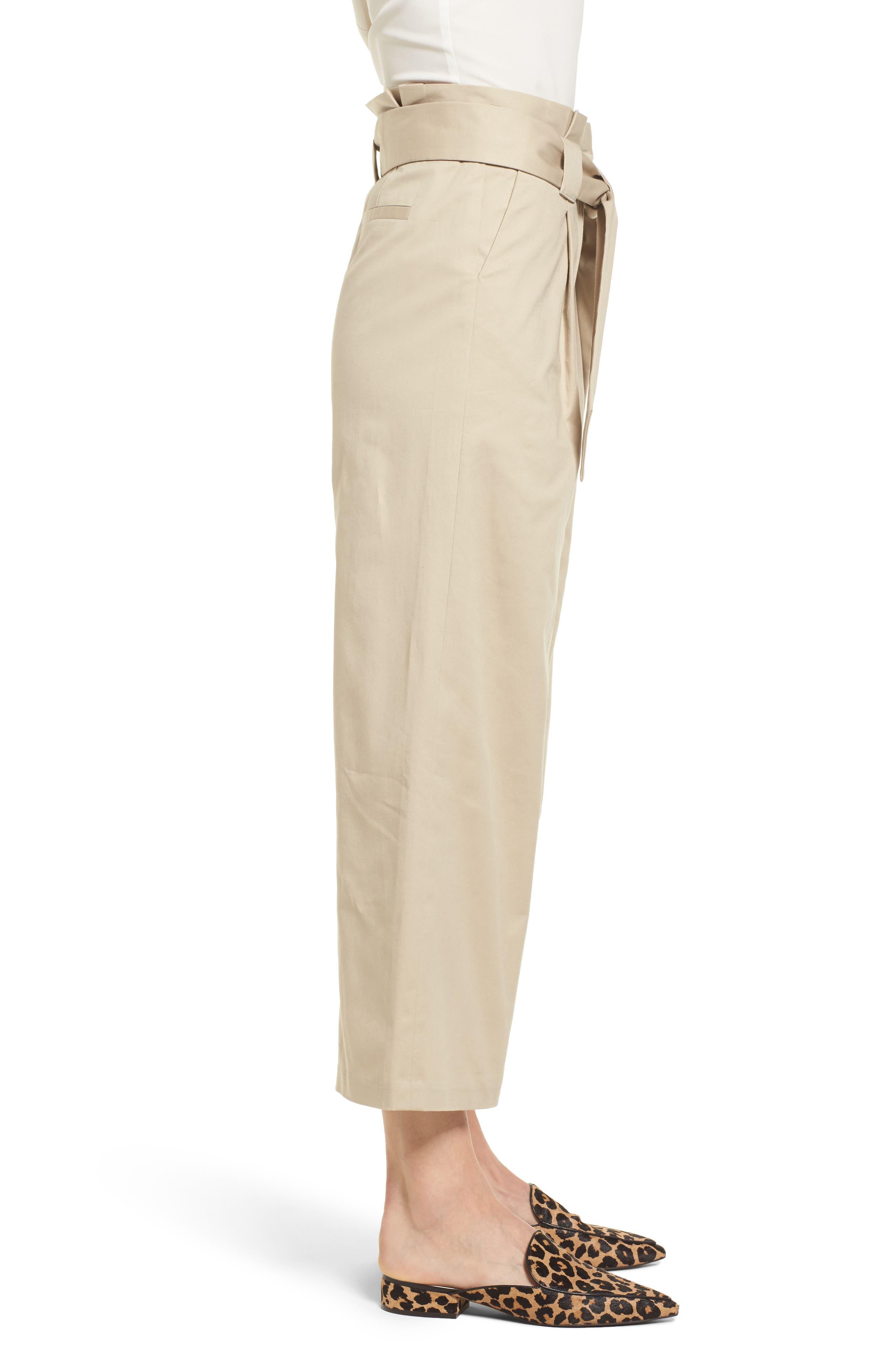 Paperbag Waist Belted Wide Leg Crop Pants,                             Alternate thumbnail 3, color,                             Tan Oxford