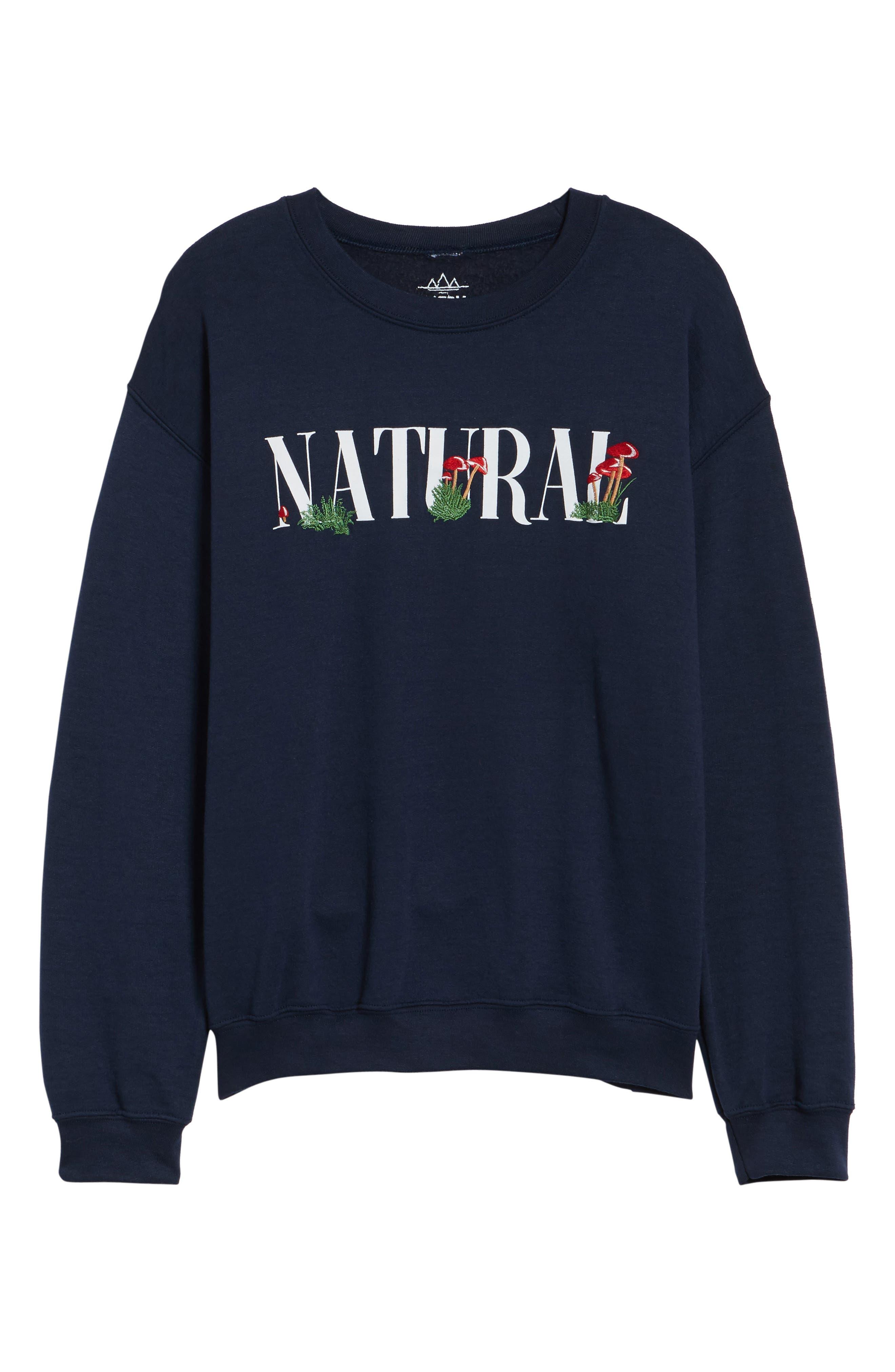 Natural Mushroom Sweatshirt,                             Alternate thumbnail 6, color,                             Blue