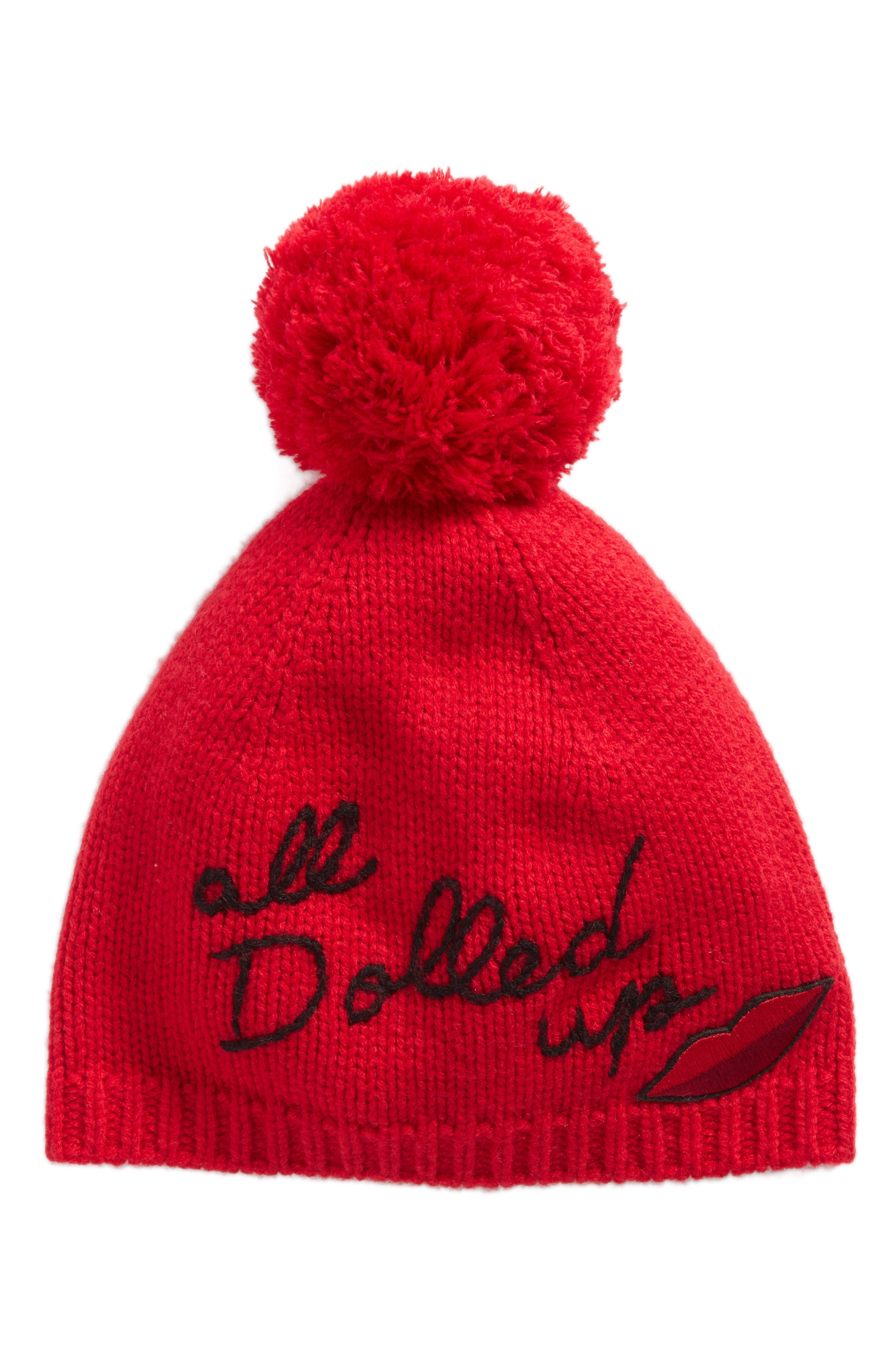 all dolled up pom beanie,                             Main thumbnail 1, color,                             Charm Red/ Black