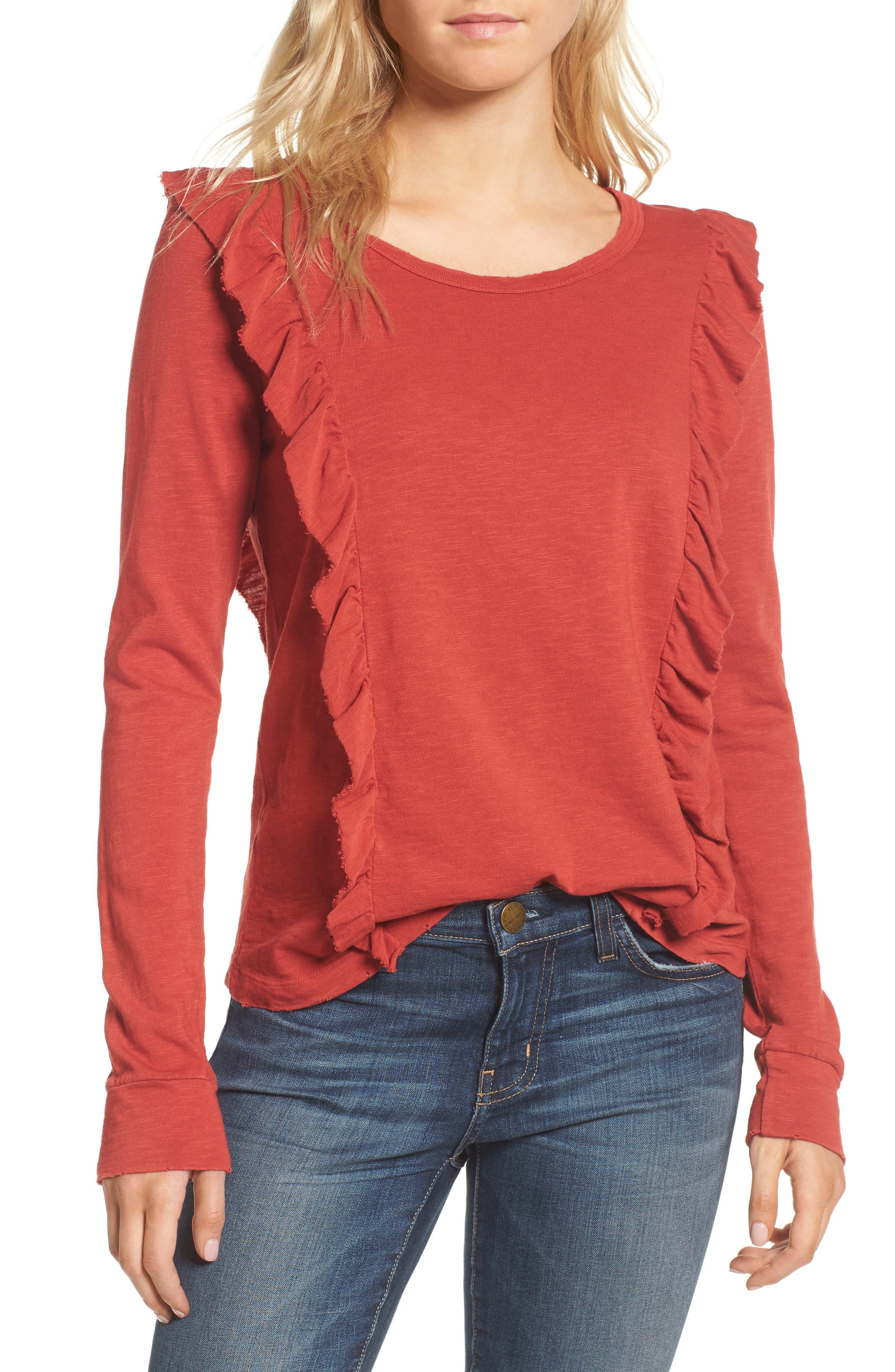Ruffle Slub Knit Tee,                         Main,                         color, Crimson
