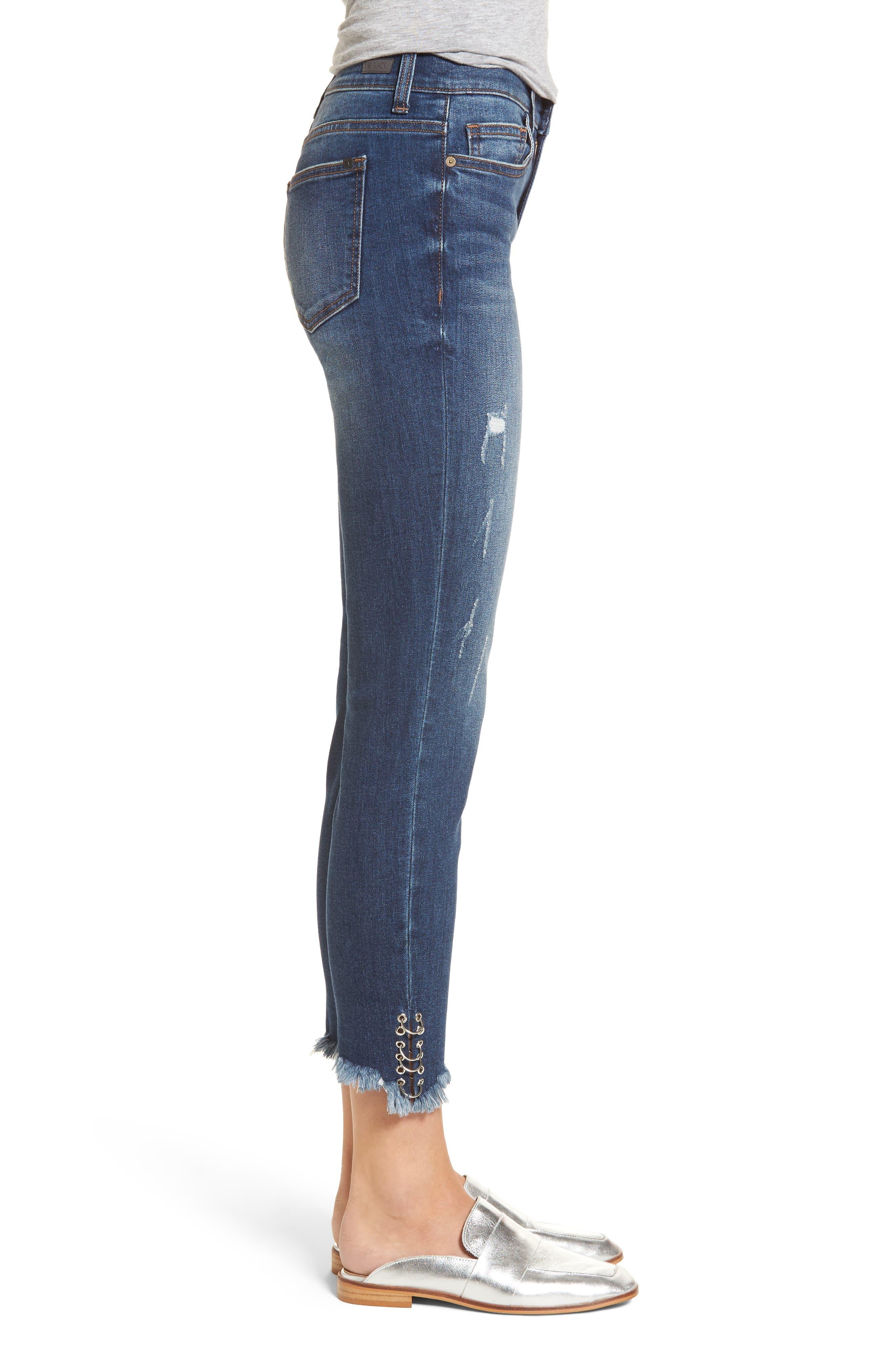 Pierced Hem Skinny Jeans,                             Alternate thumbnail 3, color,                             Medium Wash