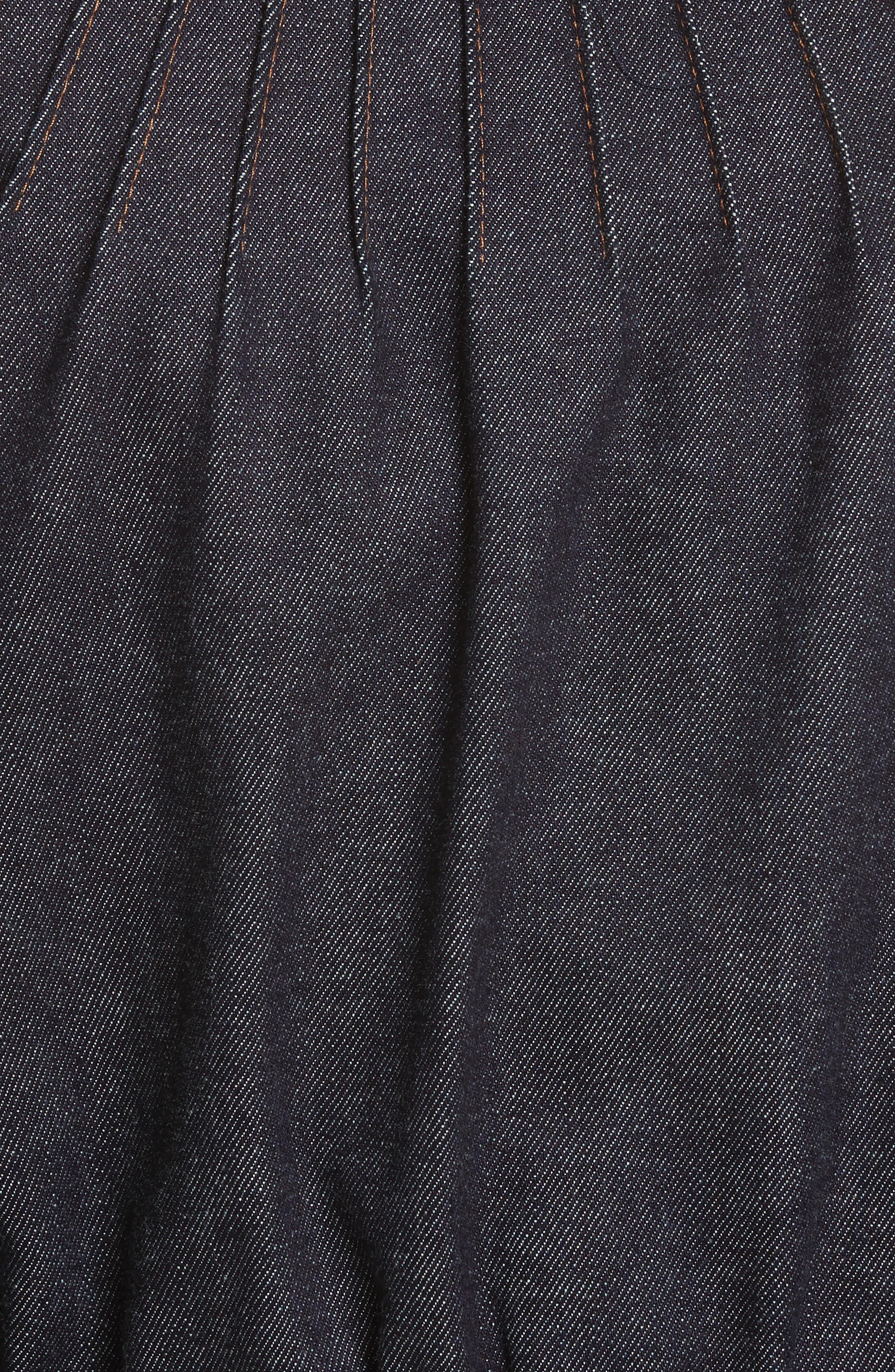 Diane von Furstenberg Pintuck Denim Jacket,                             Alternate thumbnail 6, color,                             Indigo