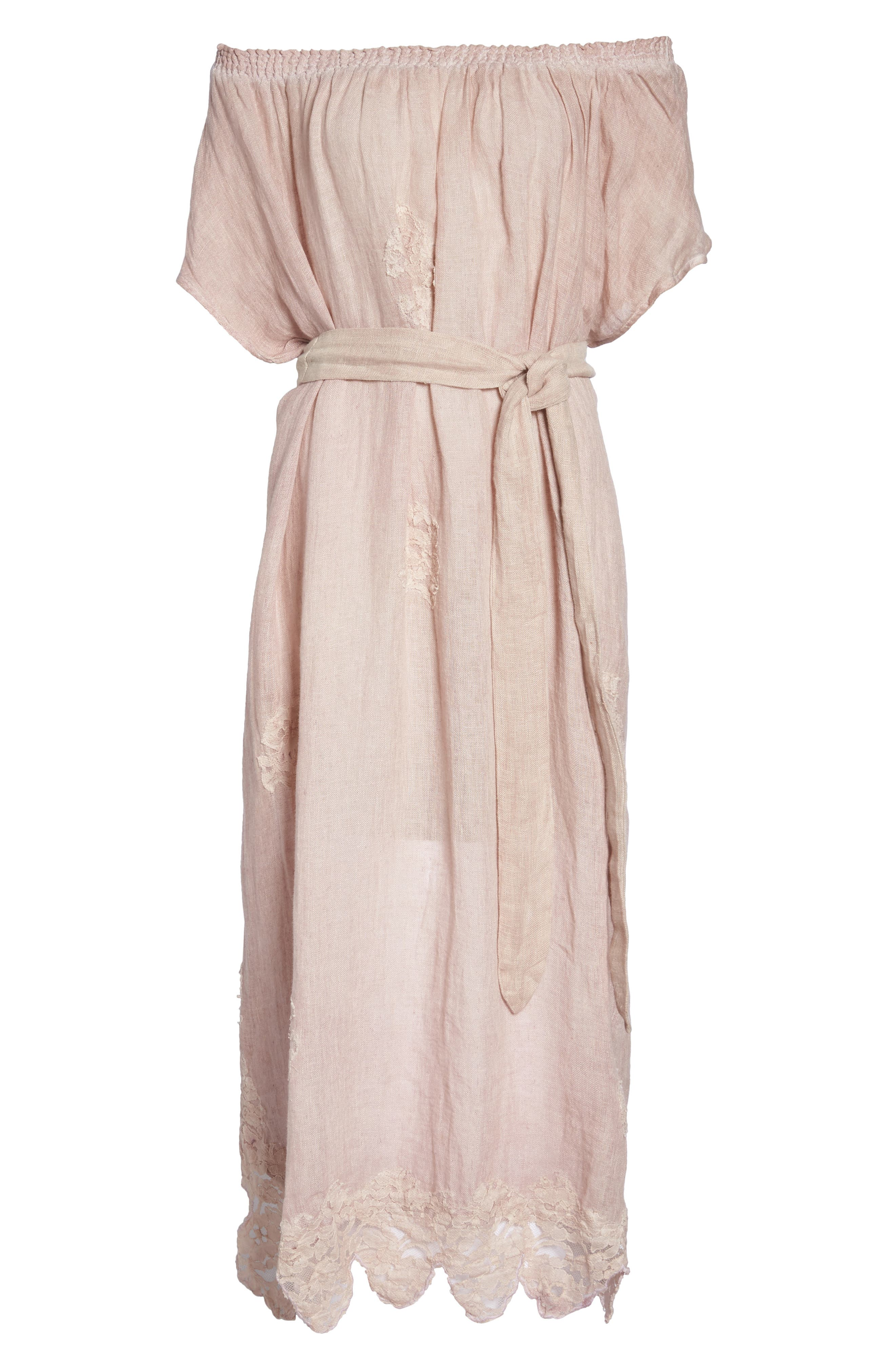 Daisy Linen Cover-Up Dress,                             Alternate thumbnail 6, color,                             Dusty Pink