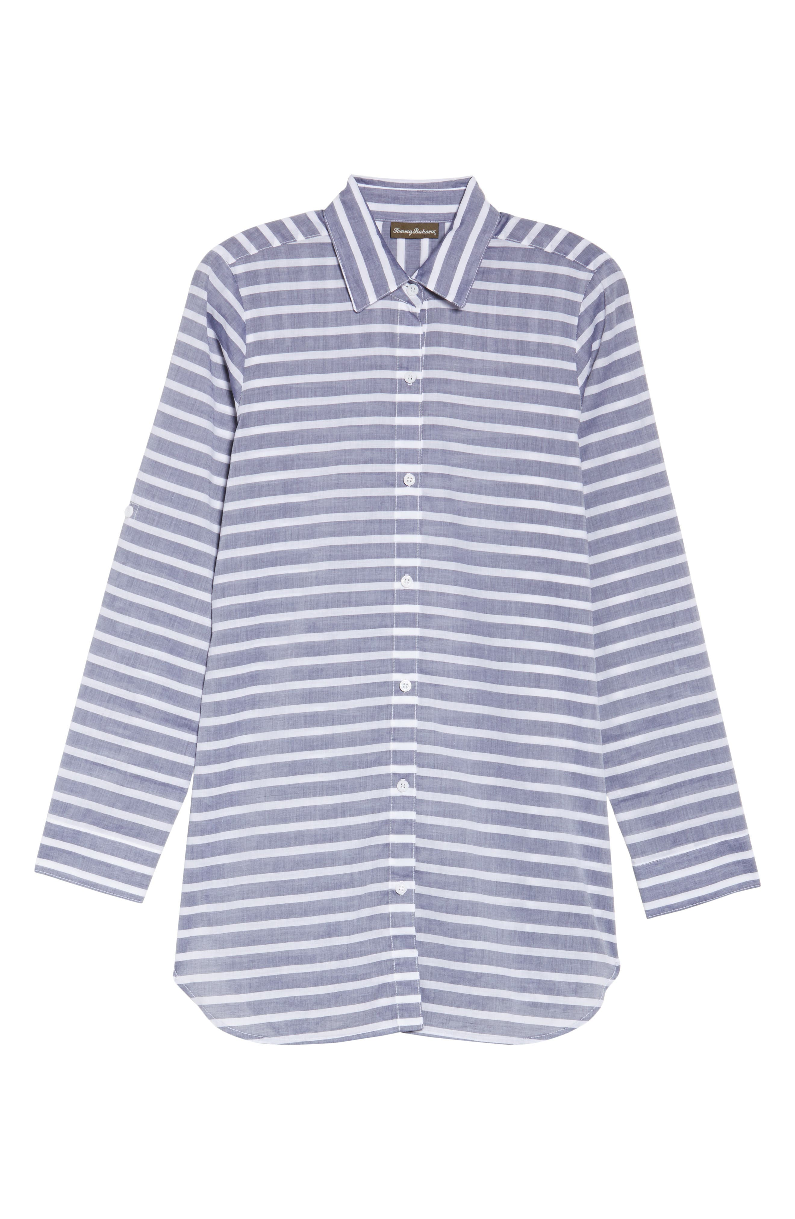 Alternate Image 6  - Tommy Bahama Brenton Stripe Boyfriend Shirt Cover-Up