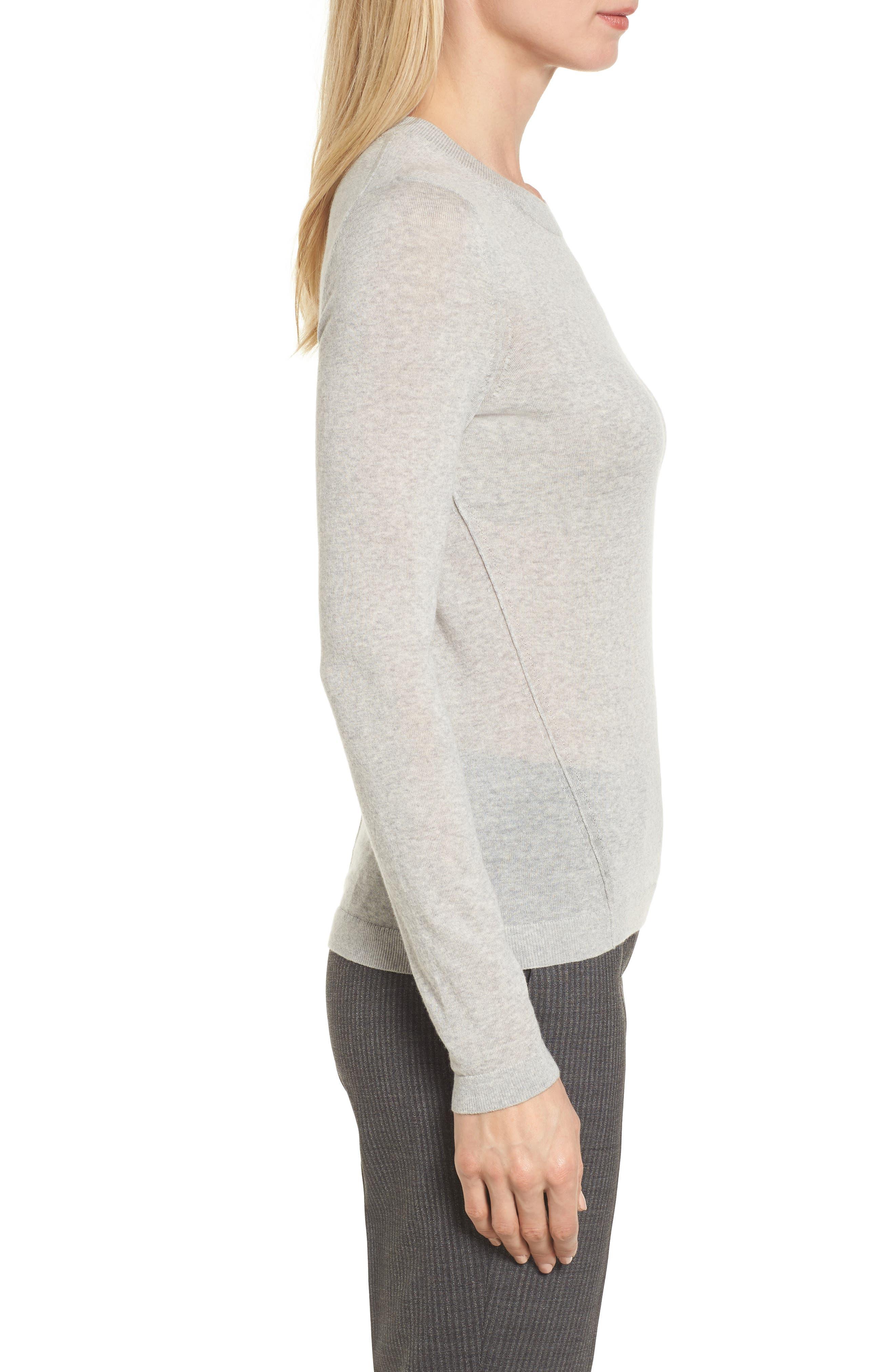 Fayme Wool Crewneck Sweater,                             Alternate thumbnail 3, color,                             Cozy Grey Melange