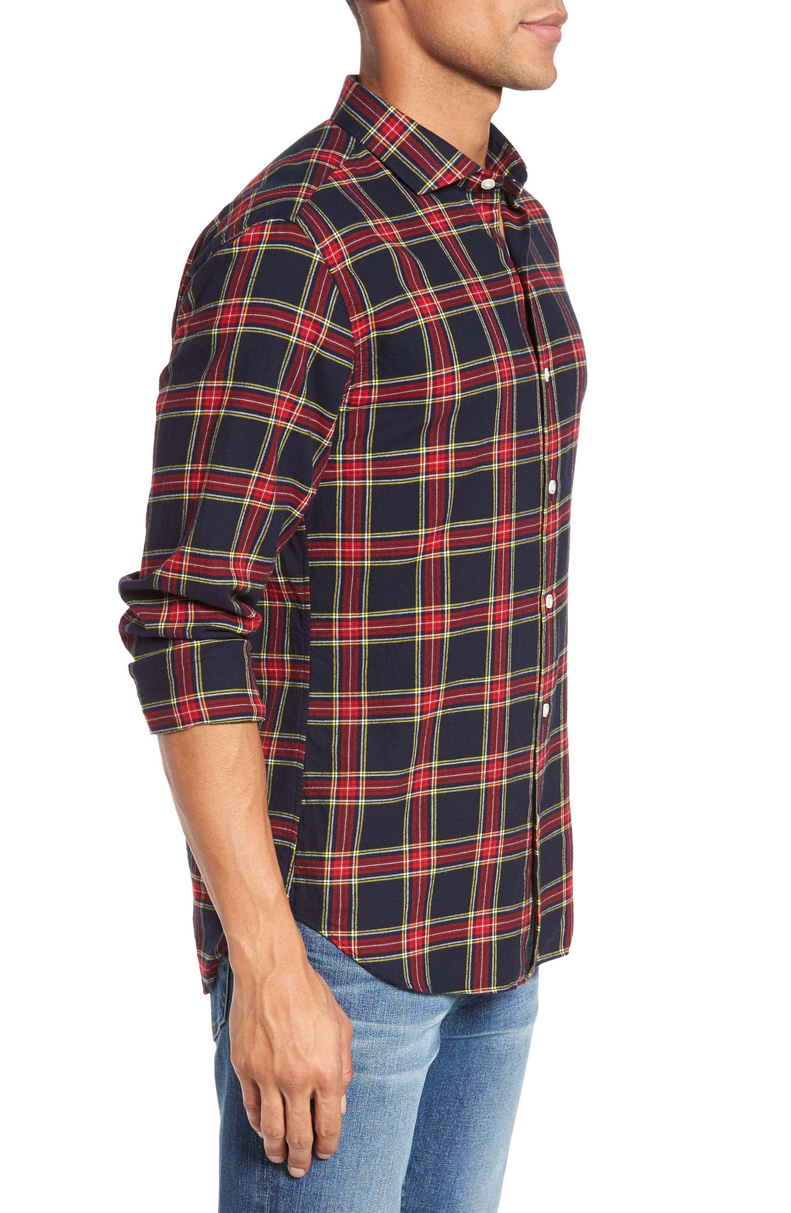 Unbutton Down Slim Fit Plaid Sport Shirt,                             Alternate thumbnail 3, color,                             Mohr Tartan/ Firecracker