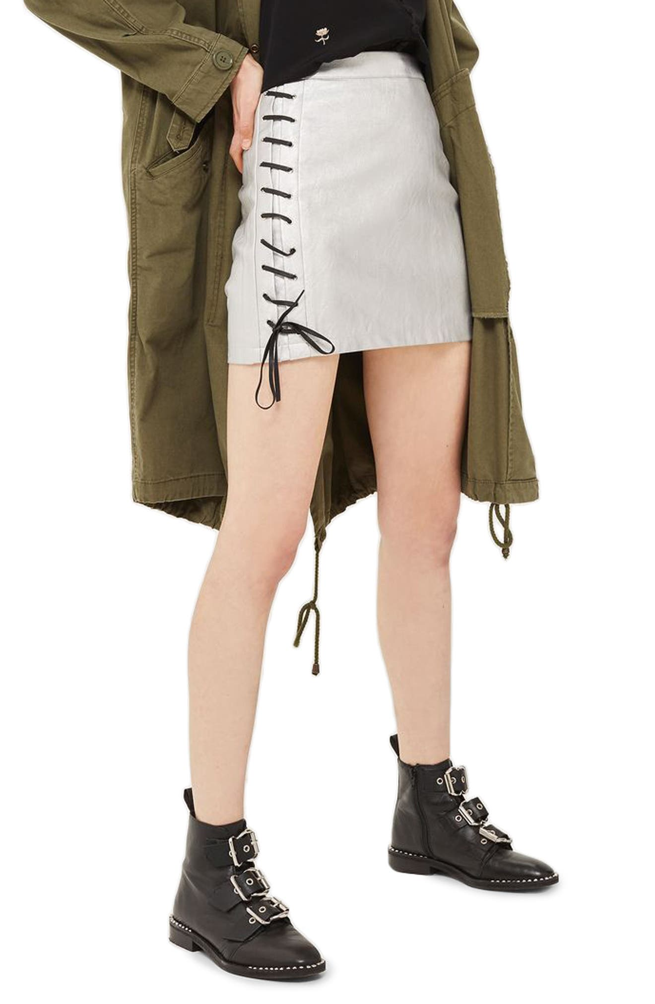 Lace-Up Side Faux Leather Skirt,                             Main thumbnail 1, color,                             Silver