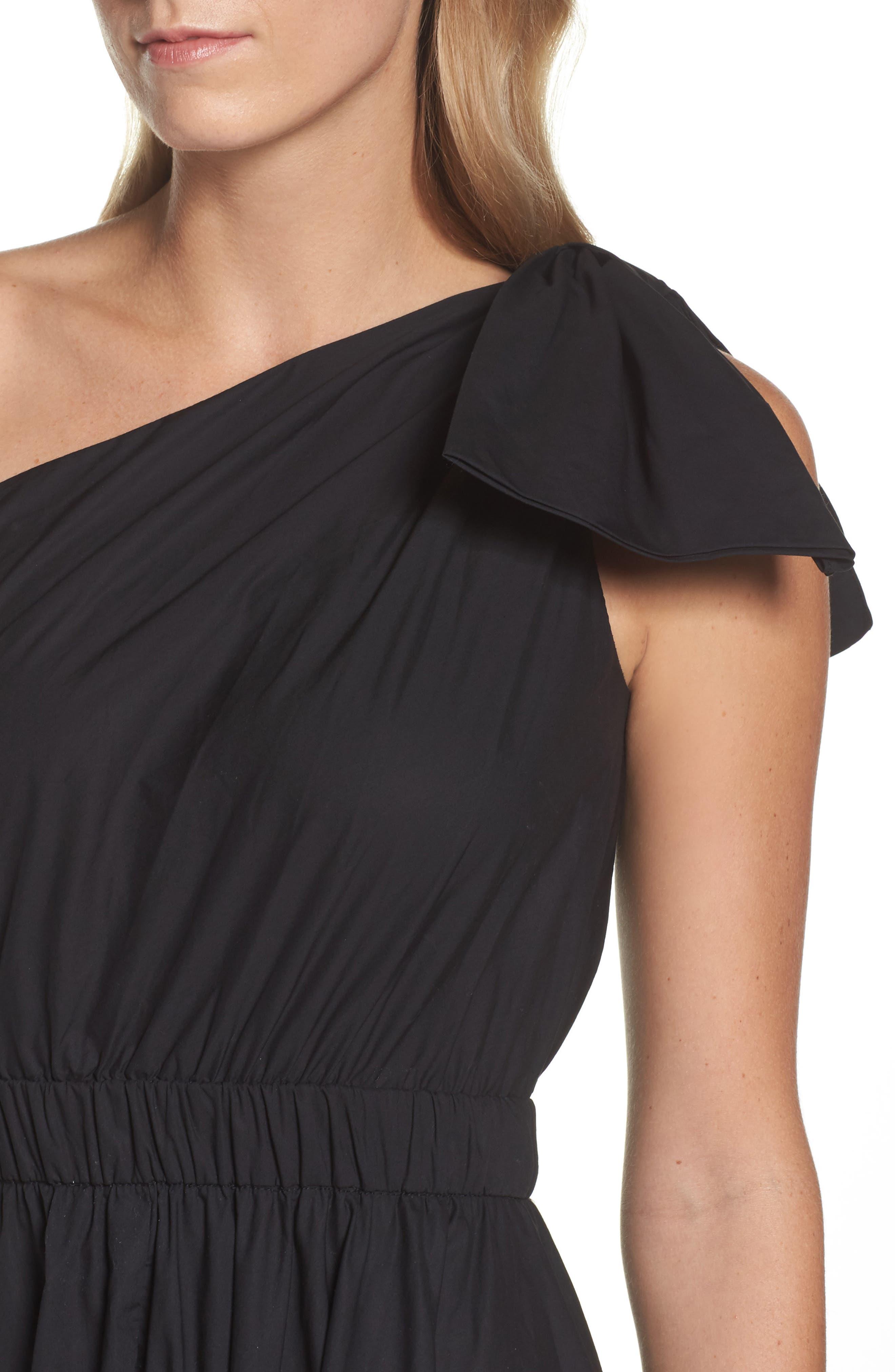 One-Shoulder Fit & Flare Dress,                             Alternate thumbnail 4, color,                             Black