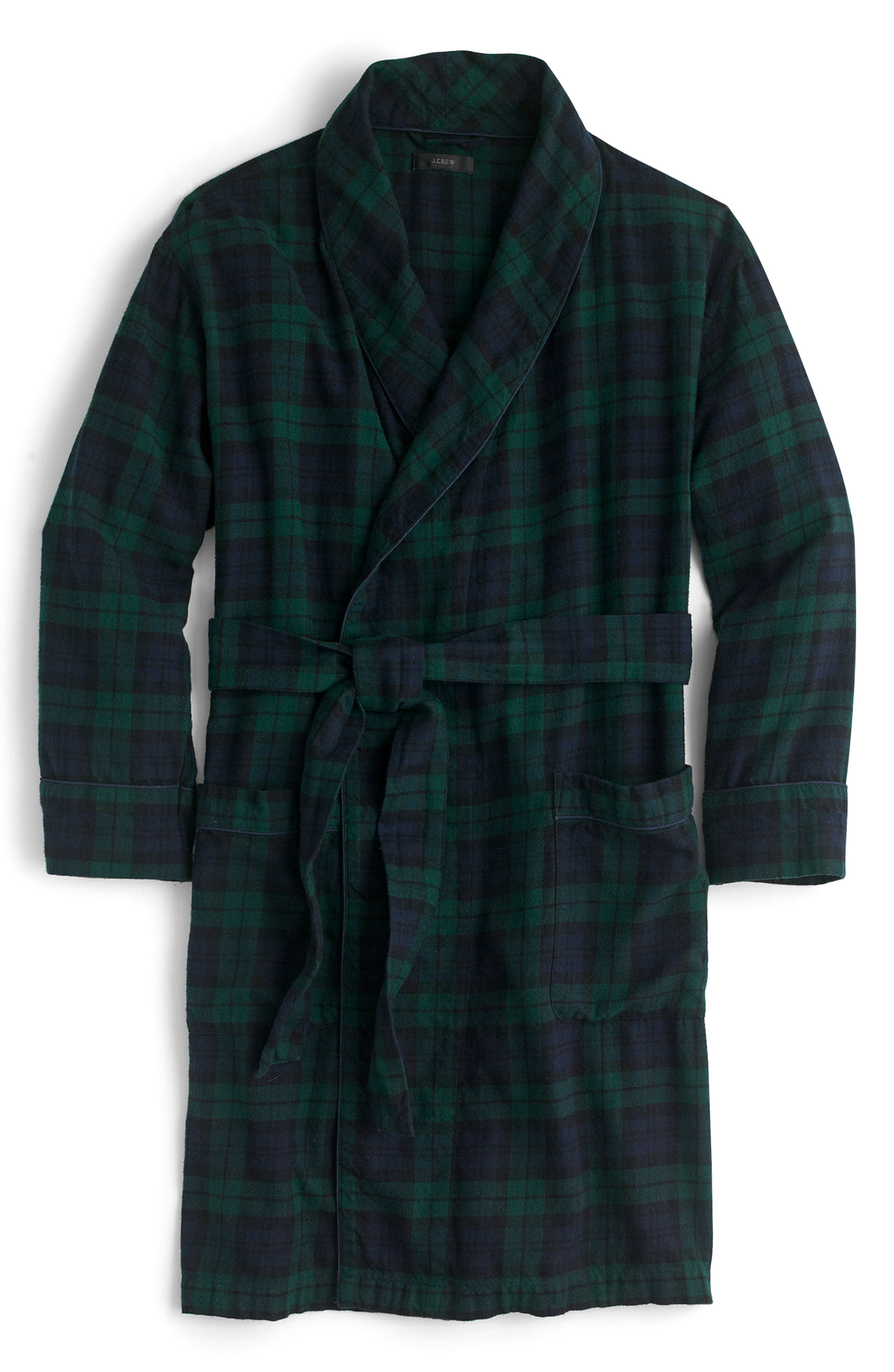 Blackwatch Flannel Short Robe,                             Alternate thumbnail 4, color,                             Midnight