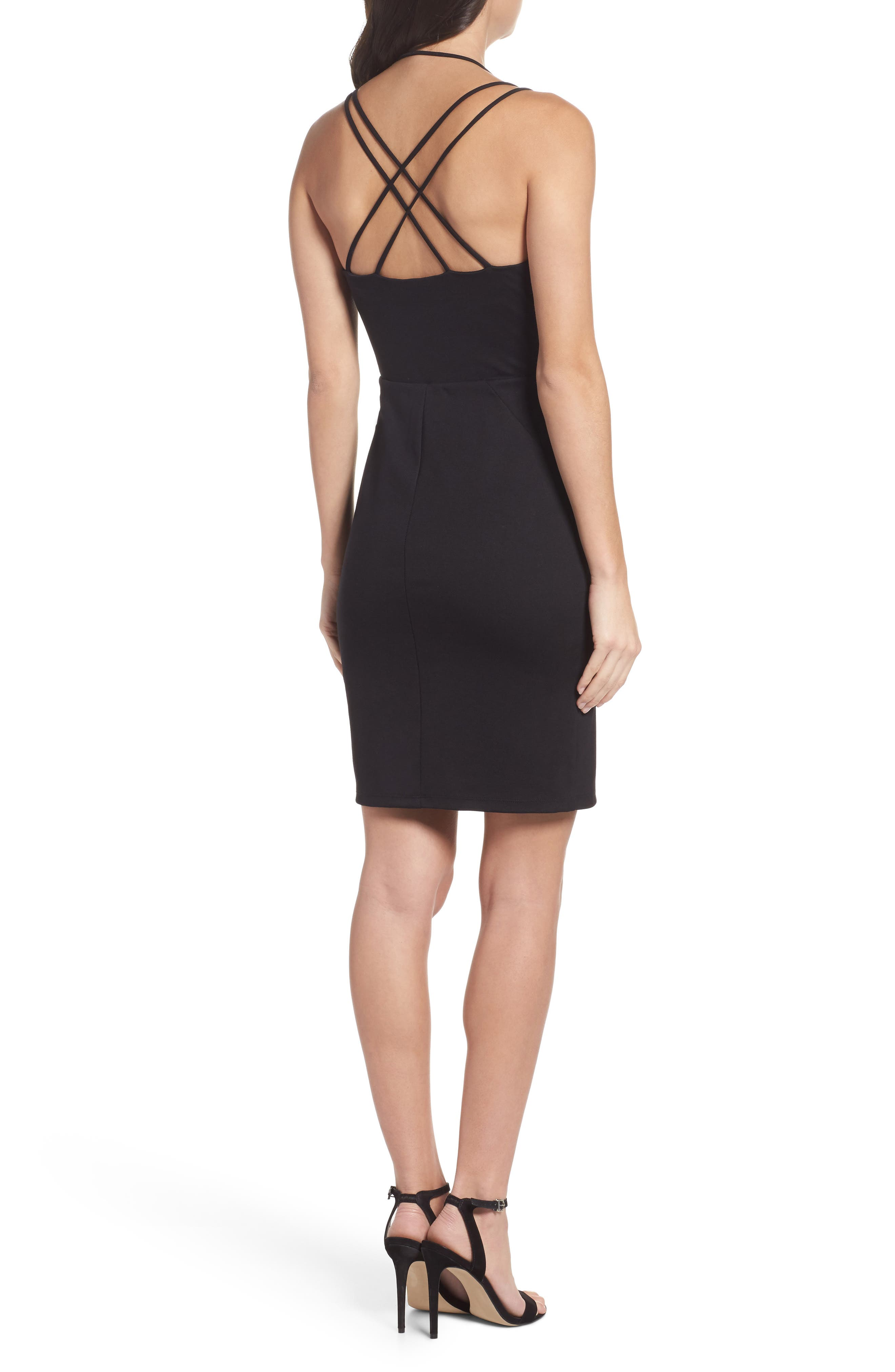 Strappy Body-Con Dress,                             Alternate thumbnail 2, color,                             Black