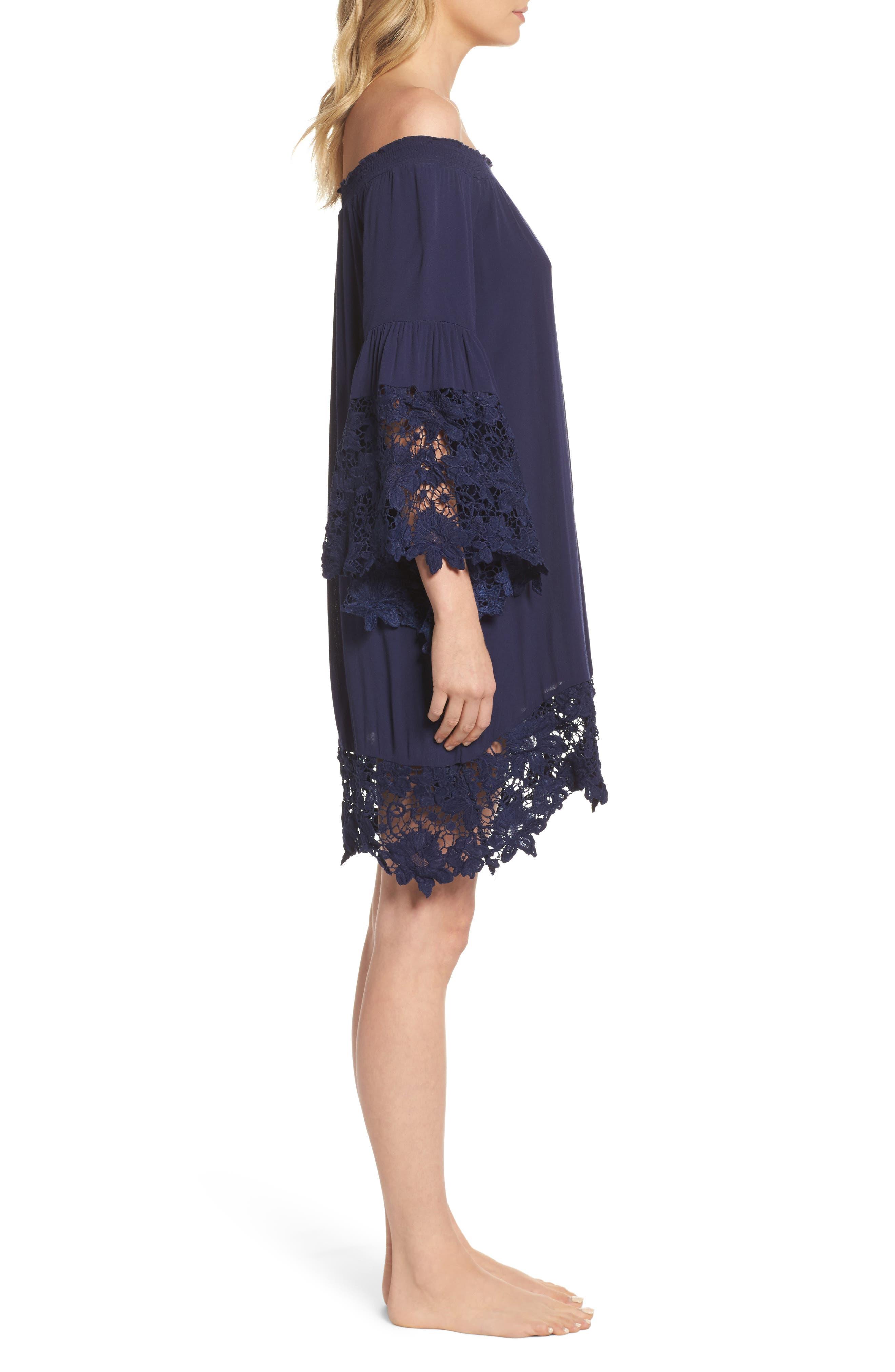 Jolie Lace Accent Cover-Up Dress,                             Alternate thumbnail 3, color,                             Navy