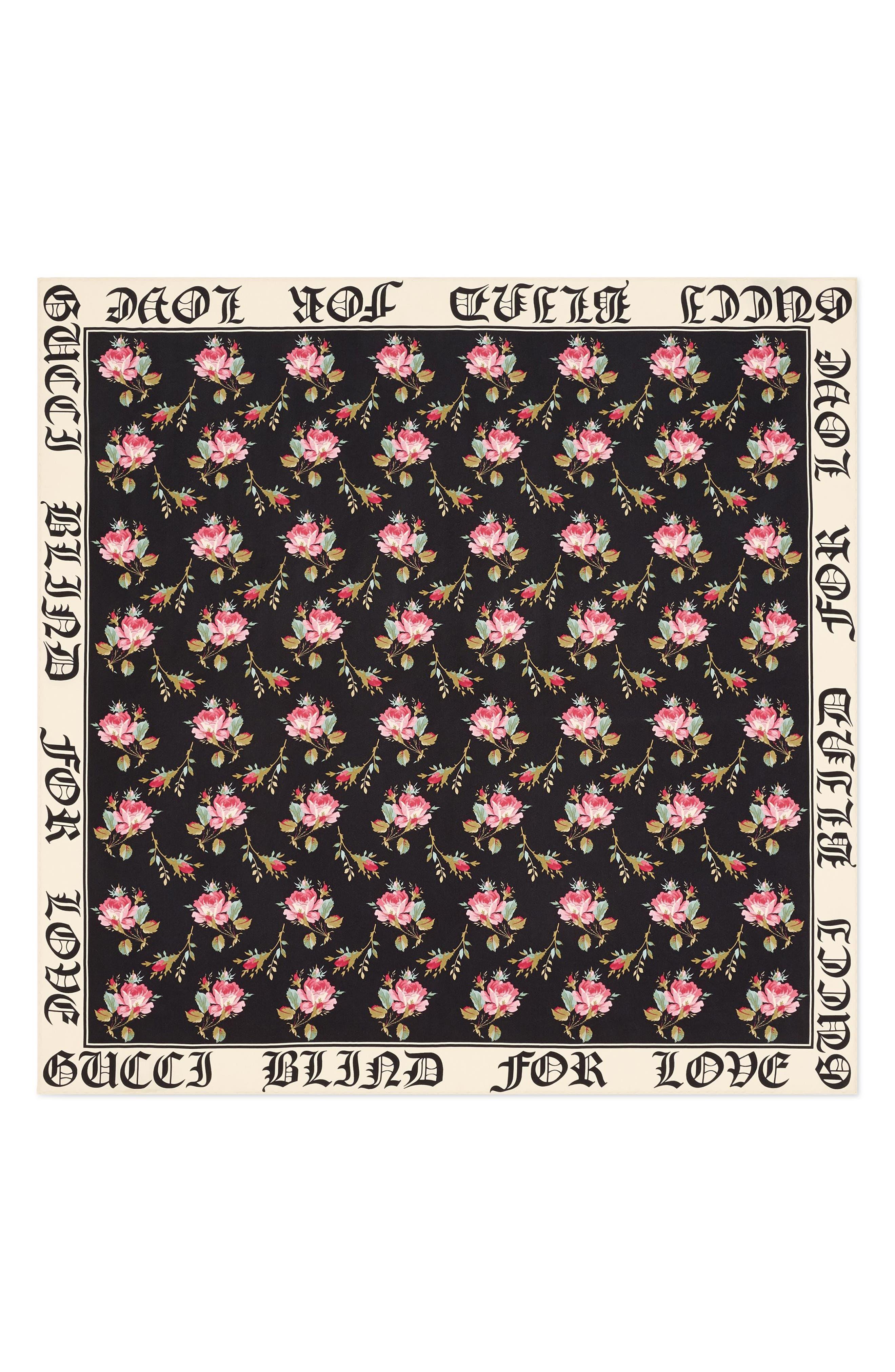 Alternate Image 1 Selected - Gucci Blind For Love Rose Foulard Scarf