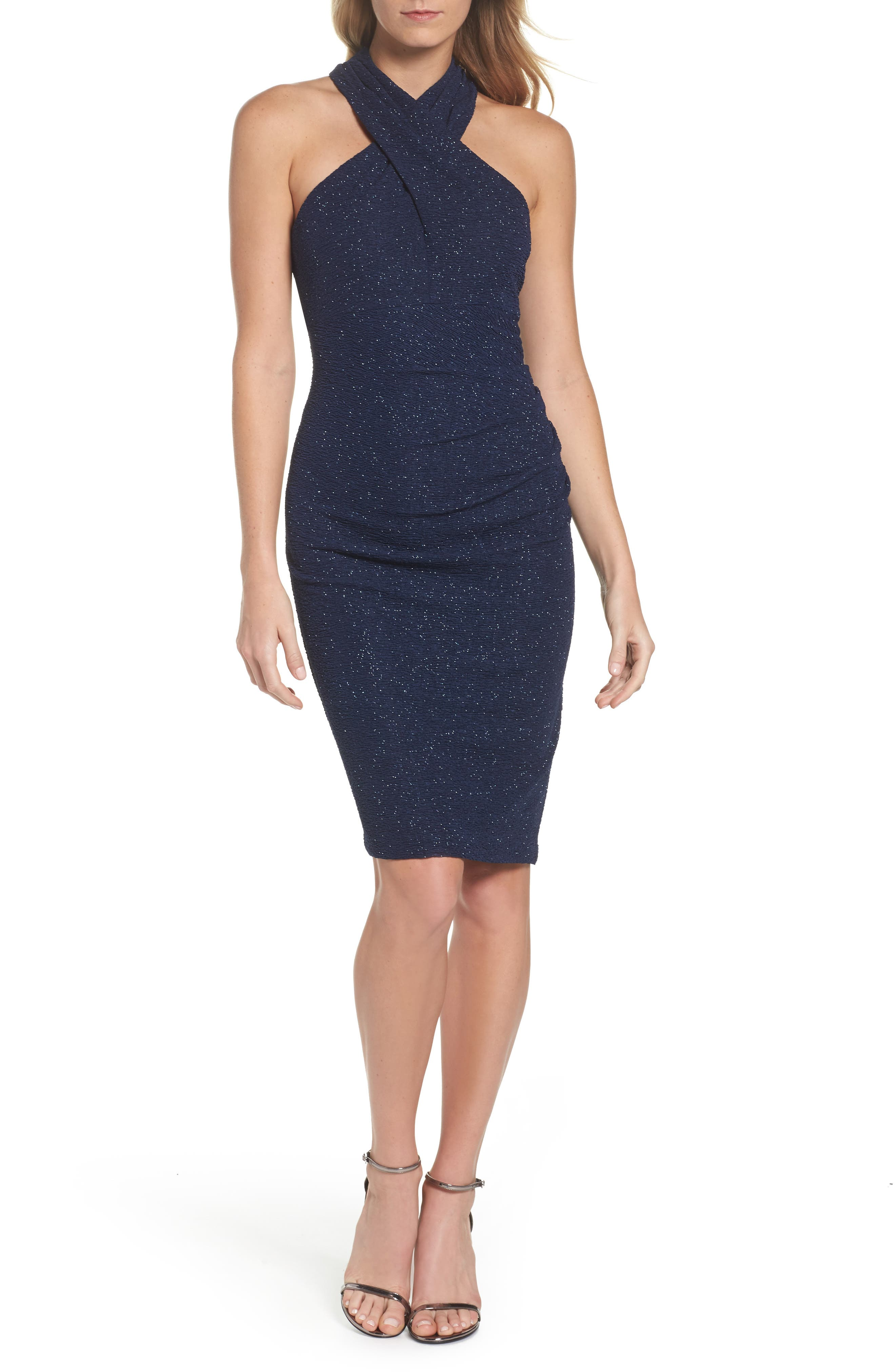 Glitter Halter Neck Sheath Dress,                         Main,                         color, Navy