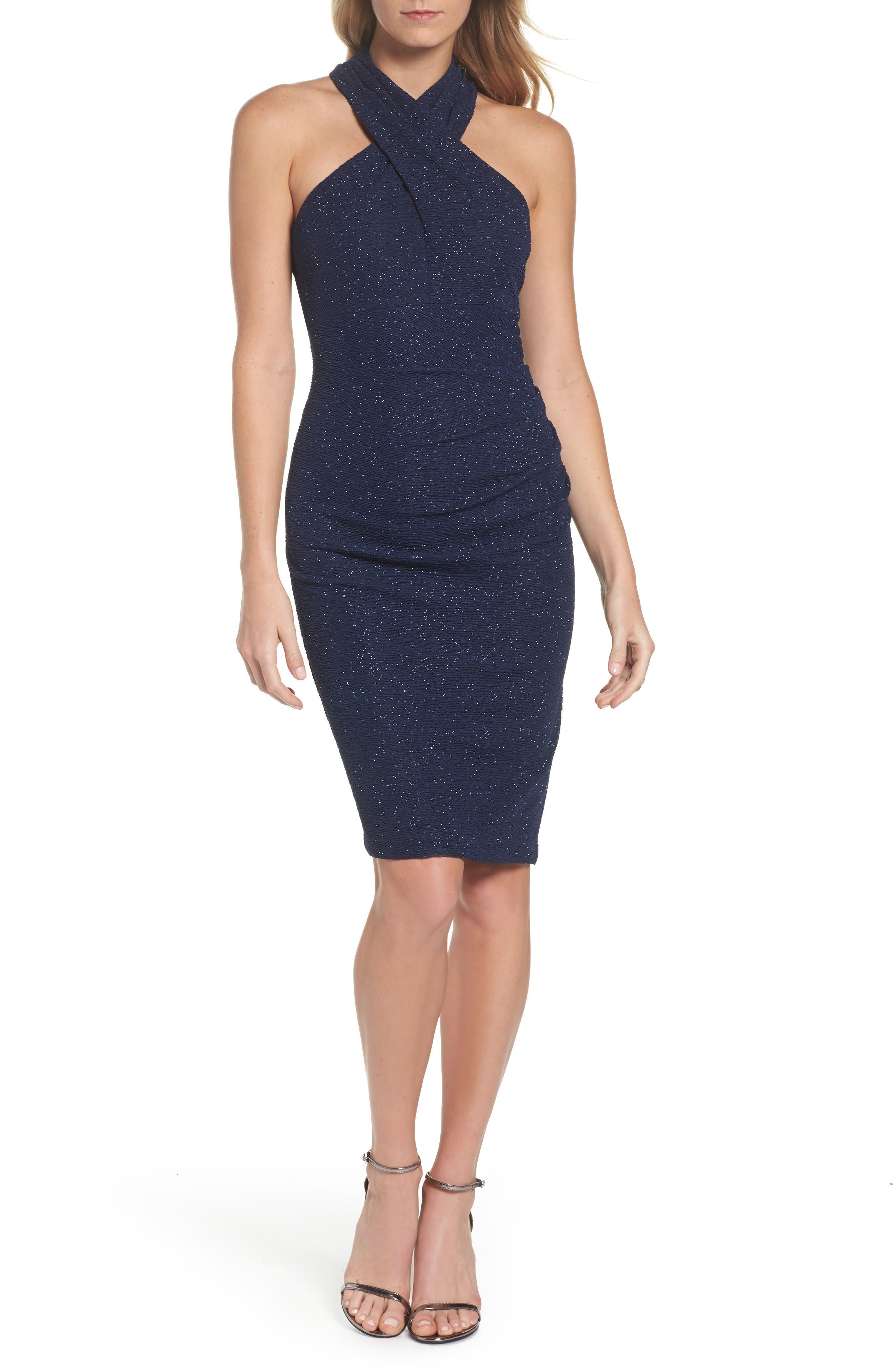 Midnight Blue Halter Dress
