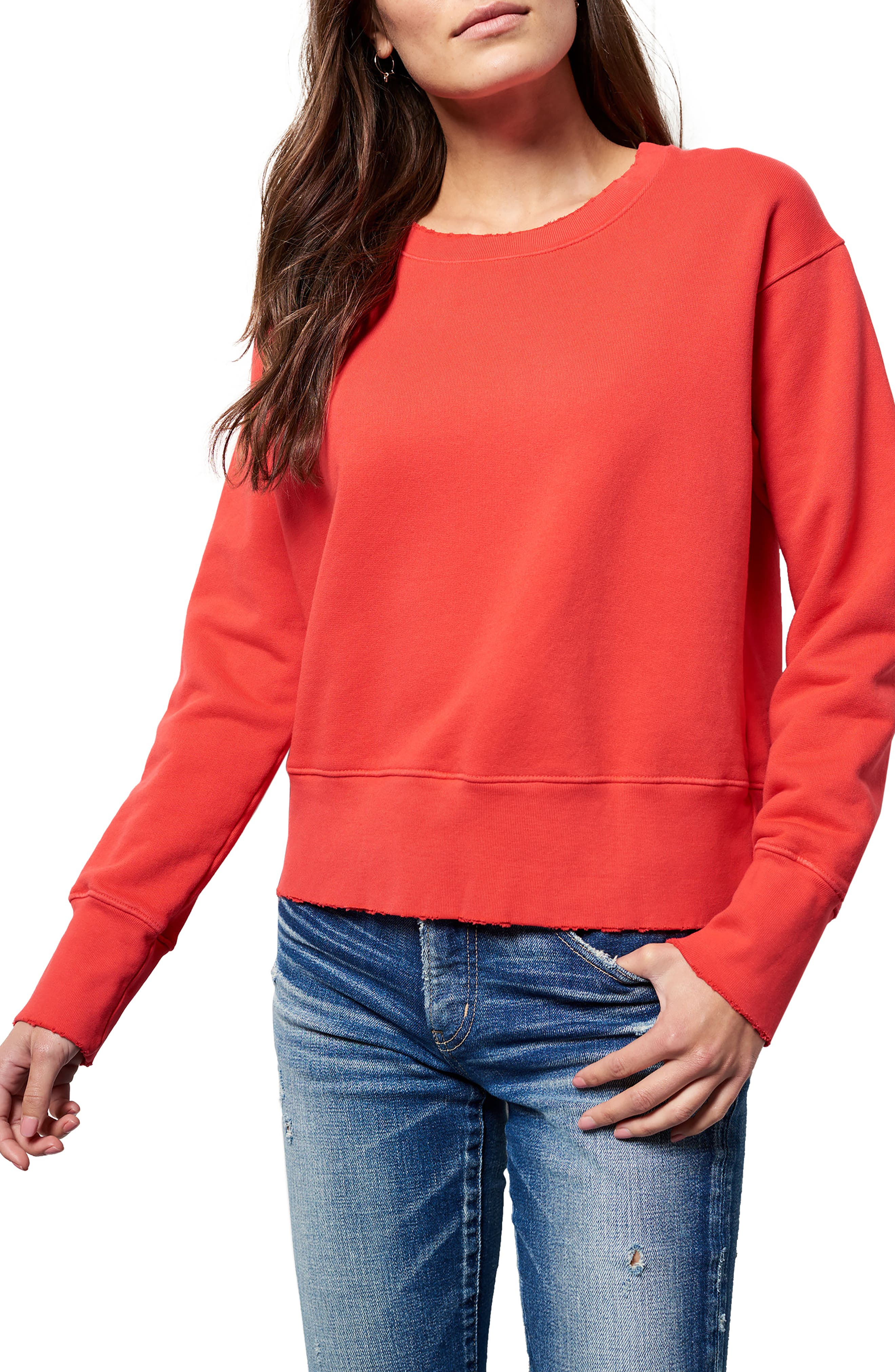 Distressed Sweatshirt,                         Main,                         color, Flash