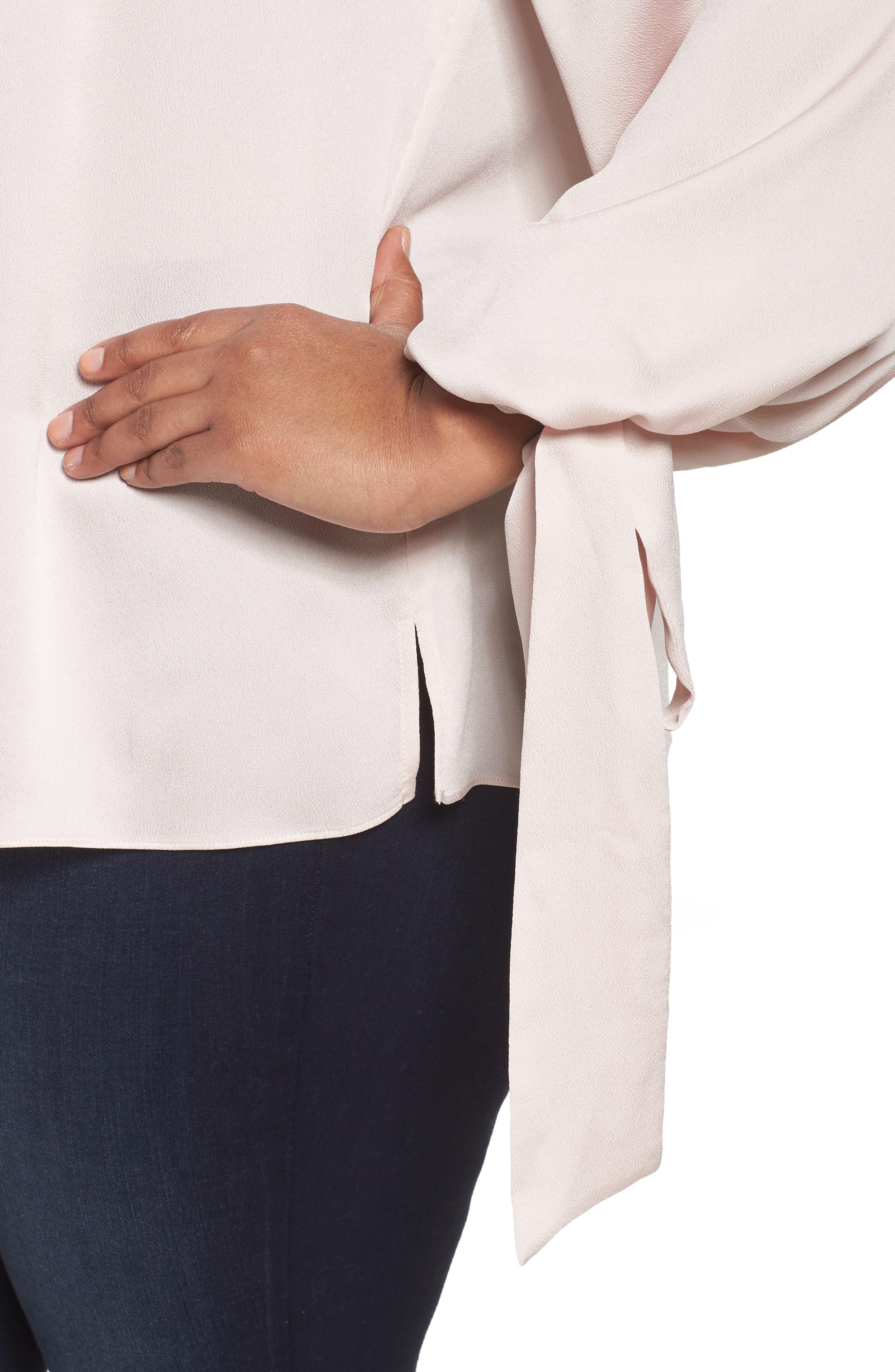 Alternate Image 4  - Vince Camuto Tie Cuff Bubble Sleeve Blouse (Plus Size)