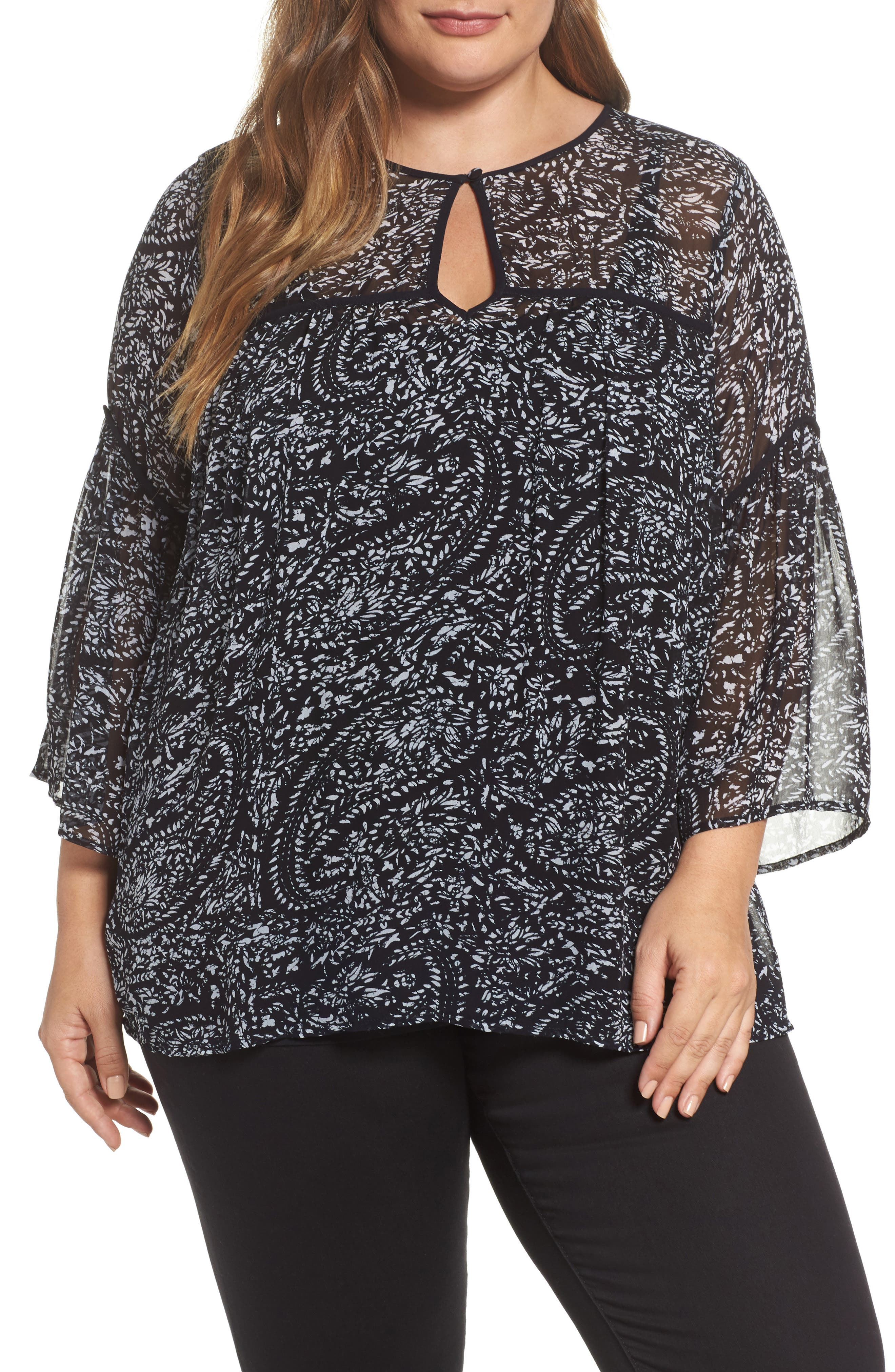Paisley Print Bell Sleeve Top,                         Main,                         color, Black Multi