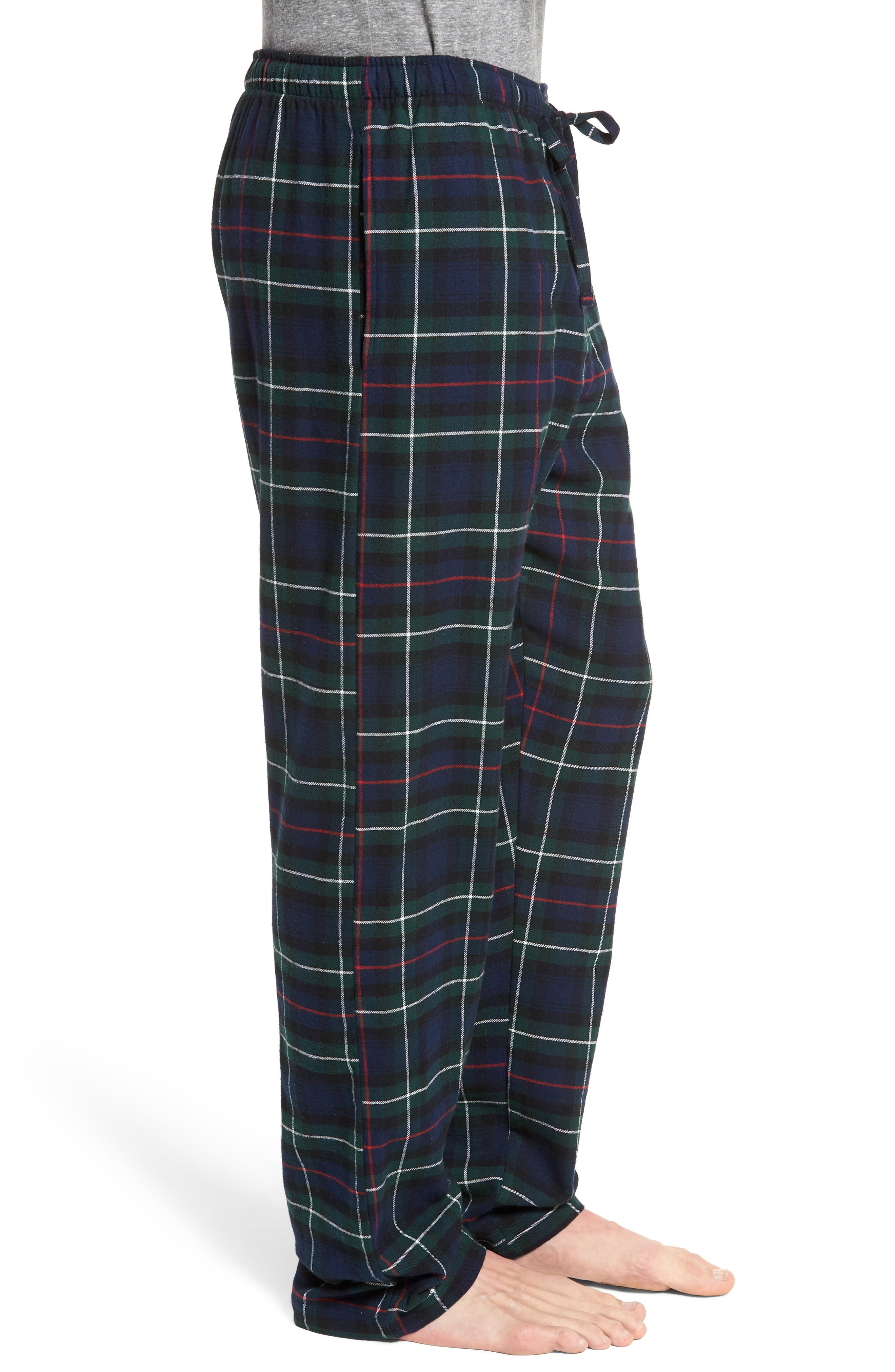 Flannel Pajama Pants,                             Alternate thumbnail 3, color,                             Blackwatch/ Cruise Navy/ Gold