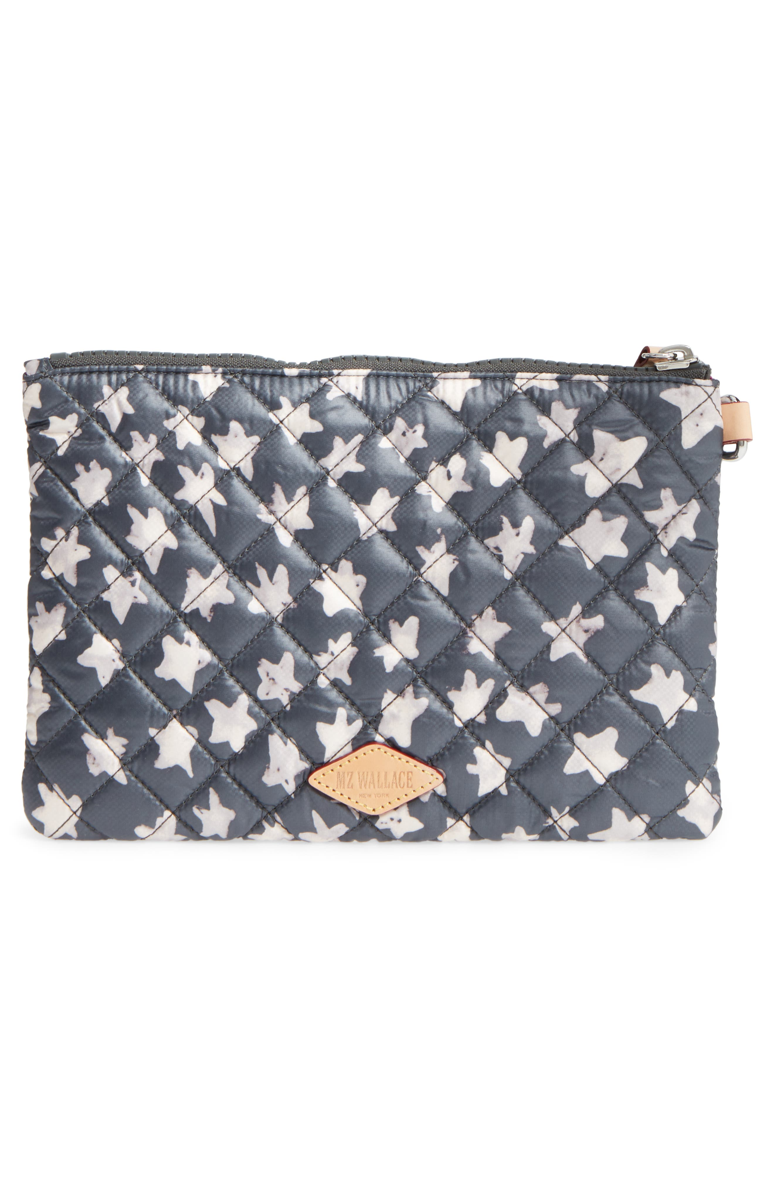 Small Metro Quilted Oxford Nylon Zip Pouch,                             Alternate thumbnail 3, color,                             Star Oxford