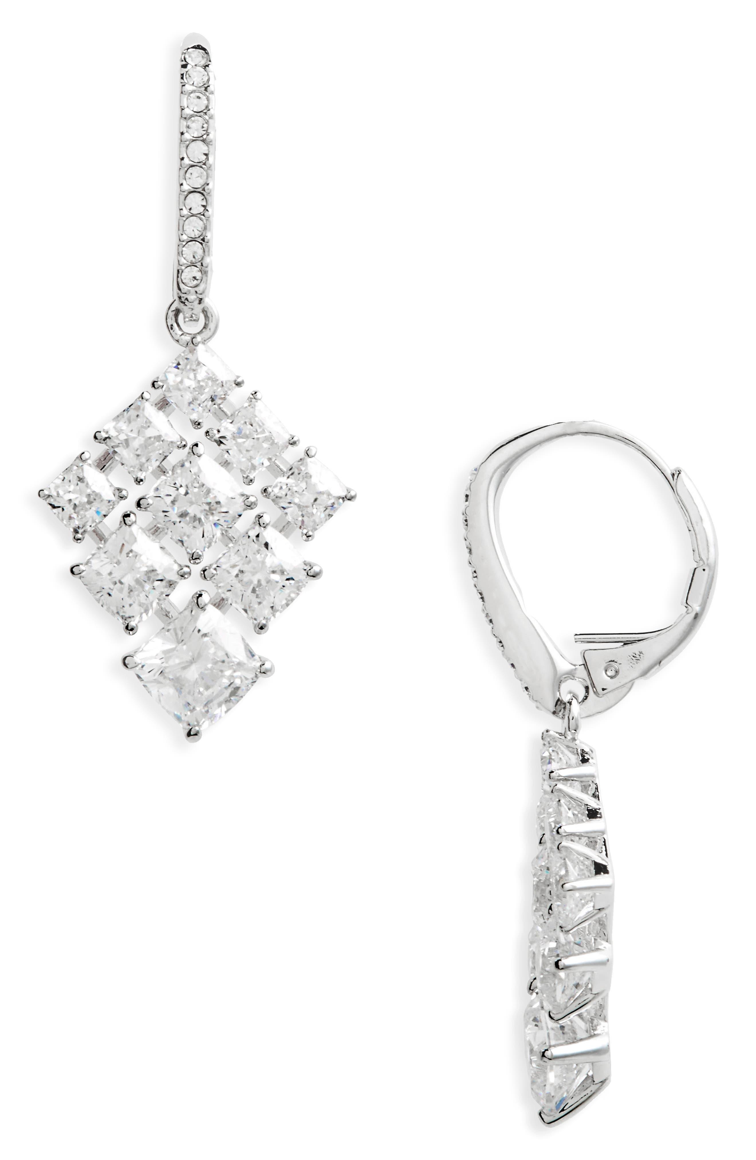 Vera Cubic Zirconia Drop Earrings,                         Main,                         color, Silver