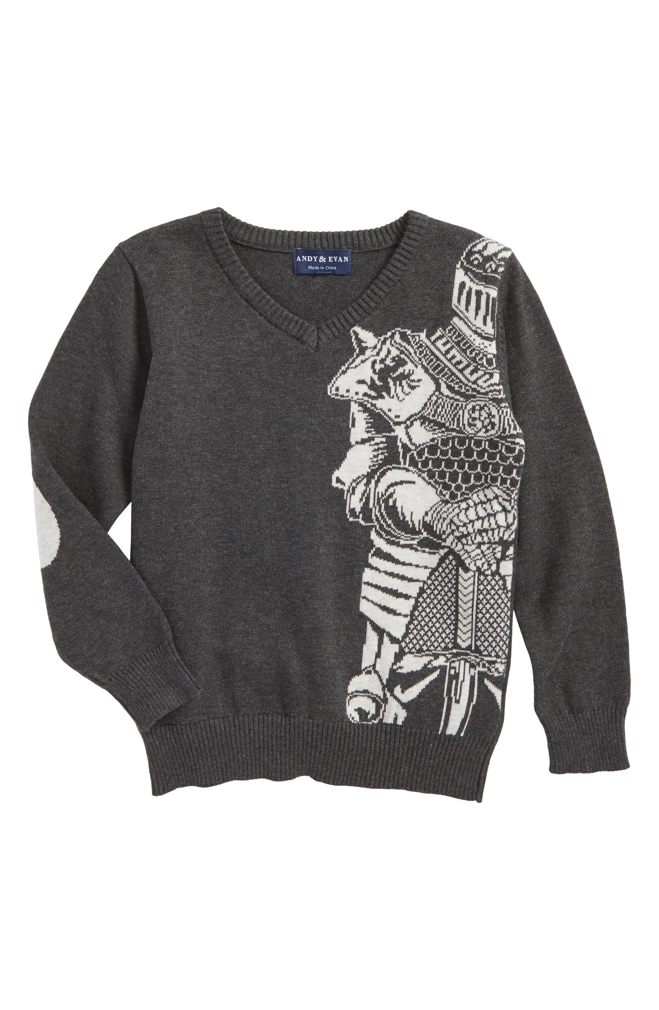 Knight Intarsia Sweater,                             Main thumbnail 1, color,                             Charcoal