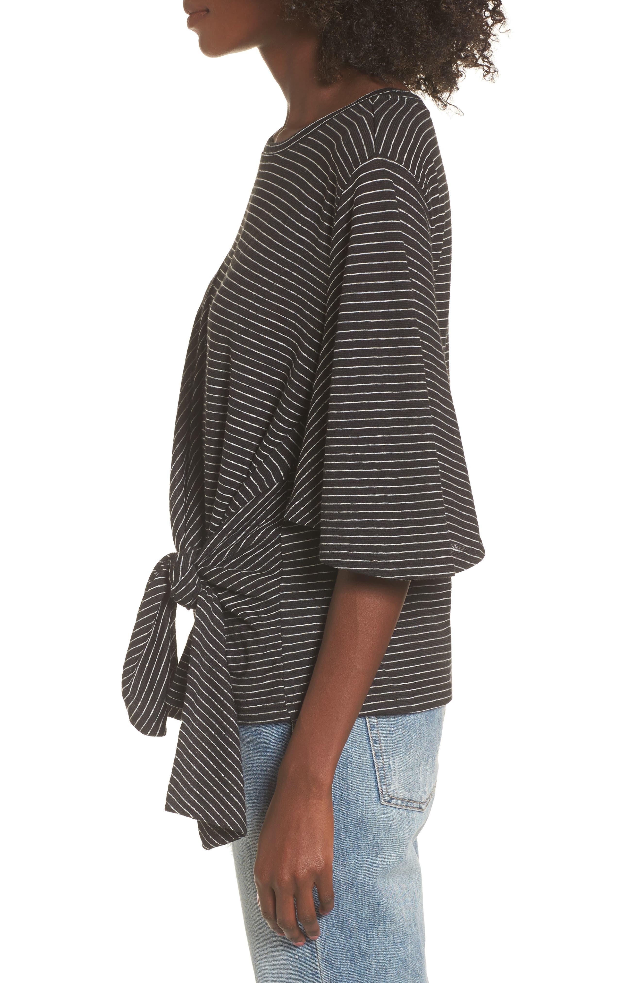Side Tie Tee,                             Alternate thumbnail 3, color,                             Black Chelsea Stripe