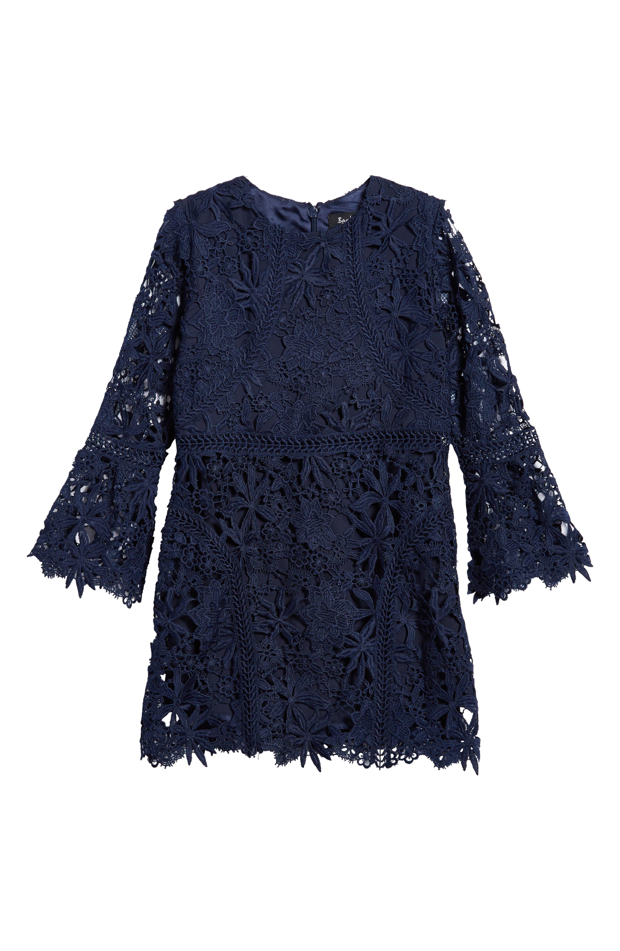 Monroe Bell Sleeve Lace Dress,                             Main thumbnail 1, color,                             Navy