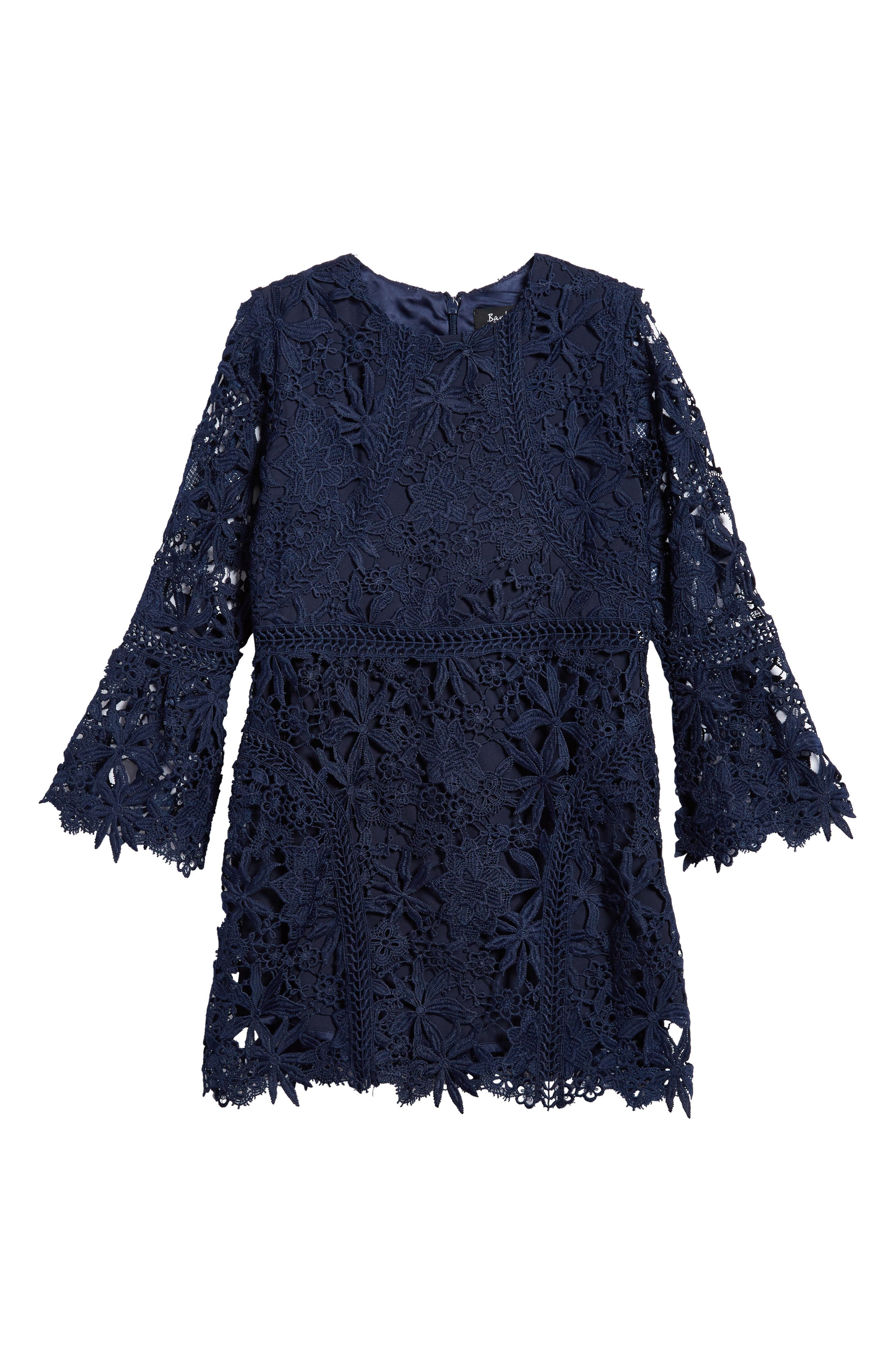 Monroe Bell Sleeve Lace Dress,                         Main,                         color, Navy