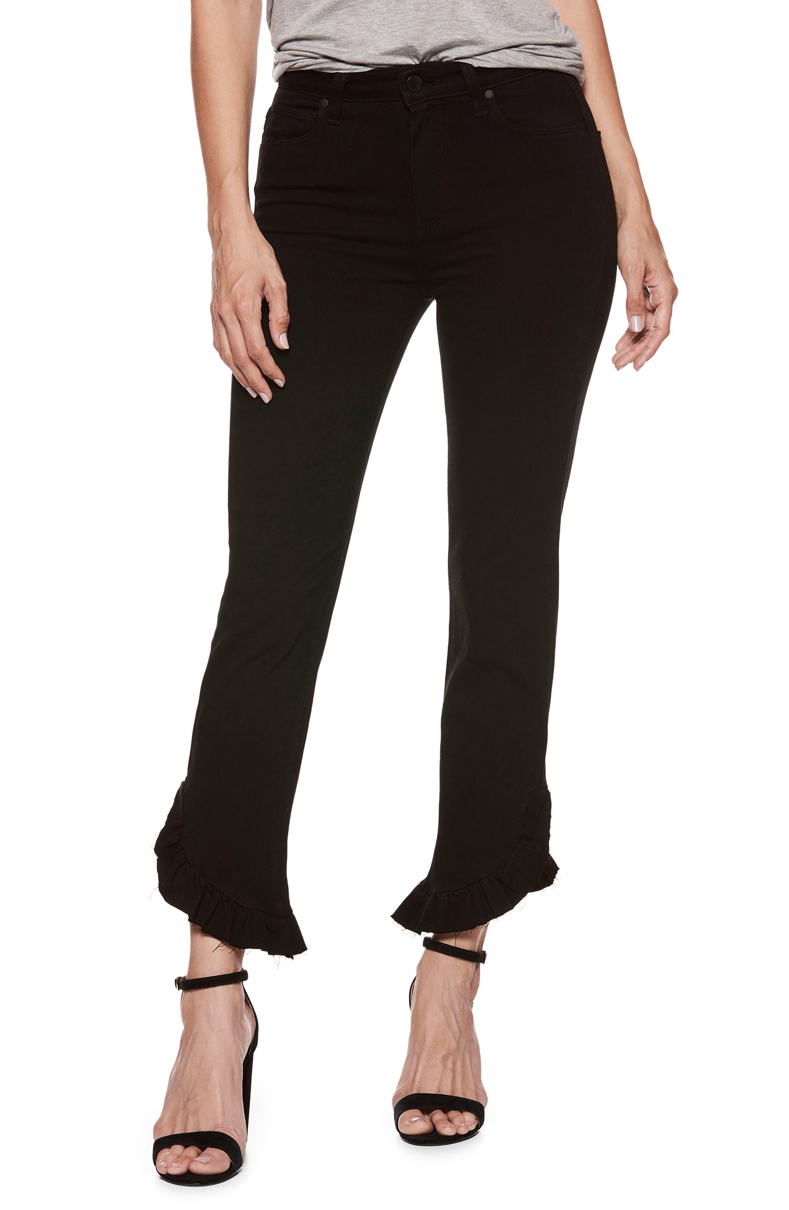 Transcend - Hoxton High Waist Ankle Straight Leg Jeans,                             Main thumbnail 1, color,                             Black Shadow
