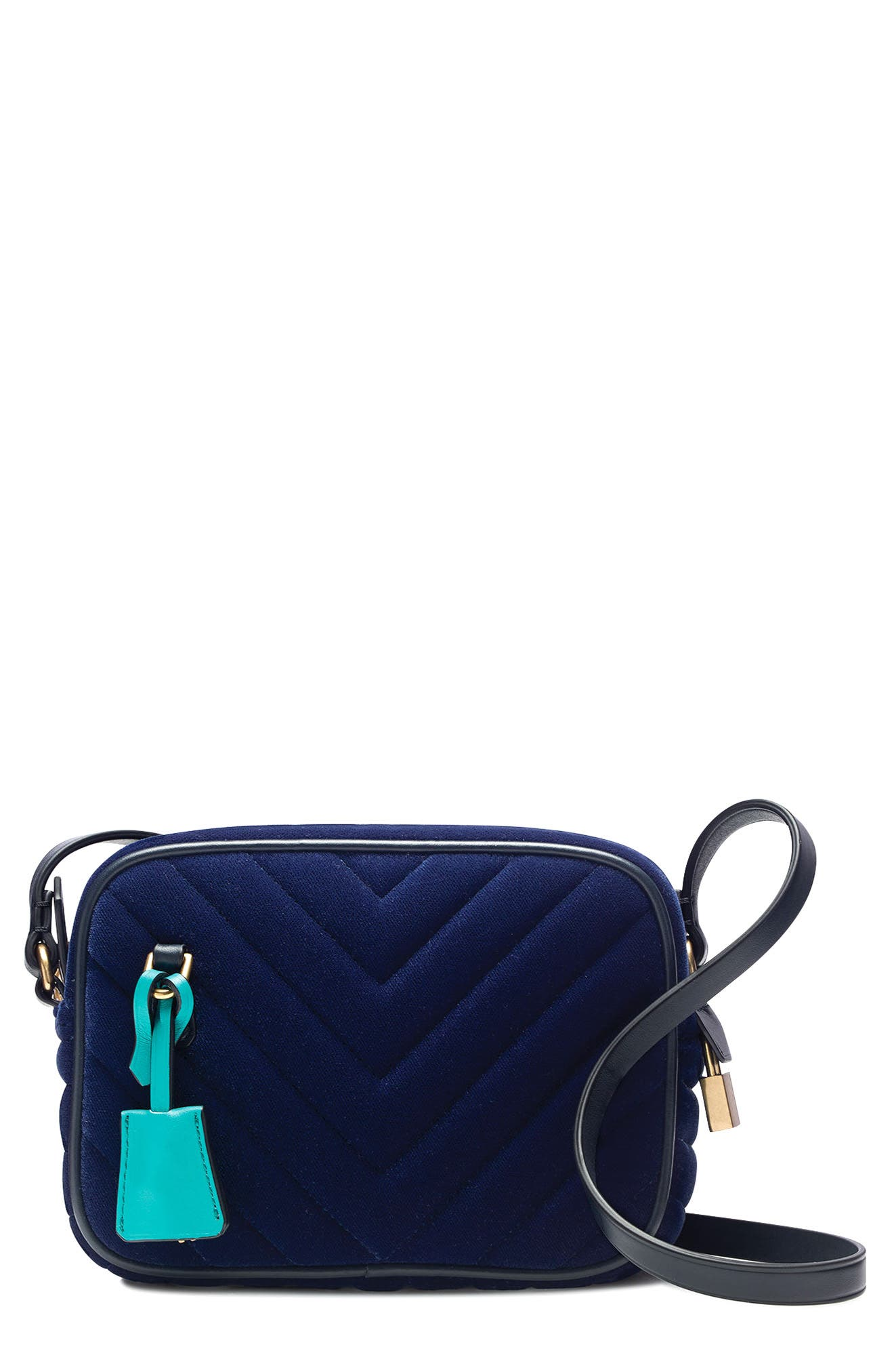 Mini Velvet Signet Bag,                             Main thumbnail 1, color,                             Vivid Ink