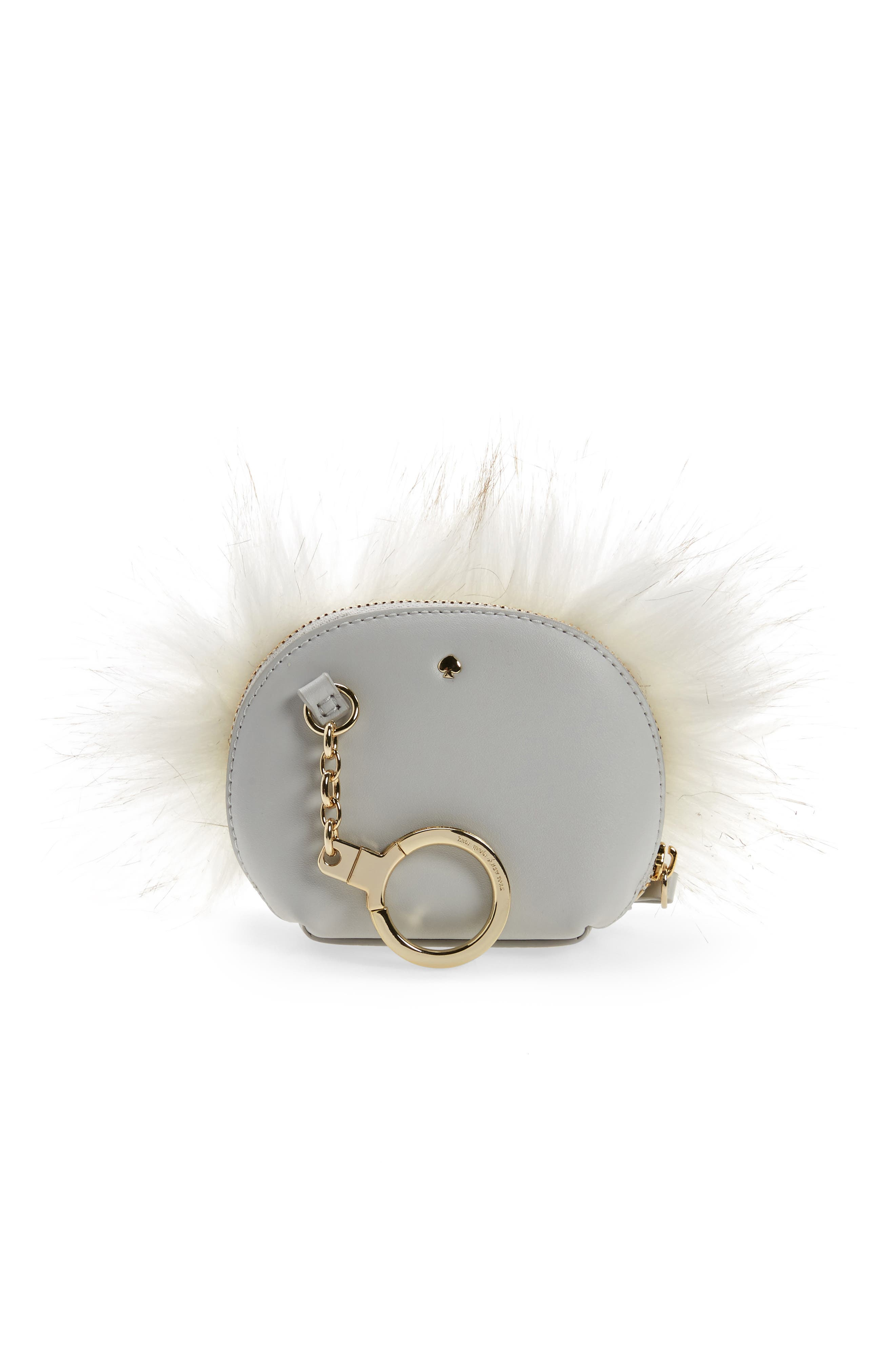 Alternate Image 2  - kate spade new york starbright owl faux fur & leather coin case/bag charm