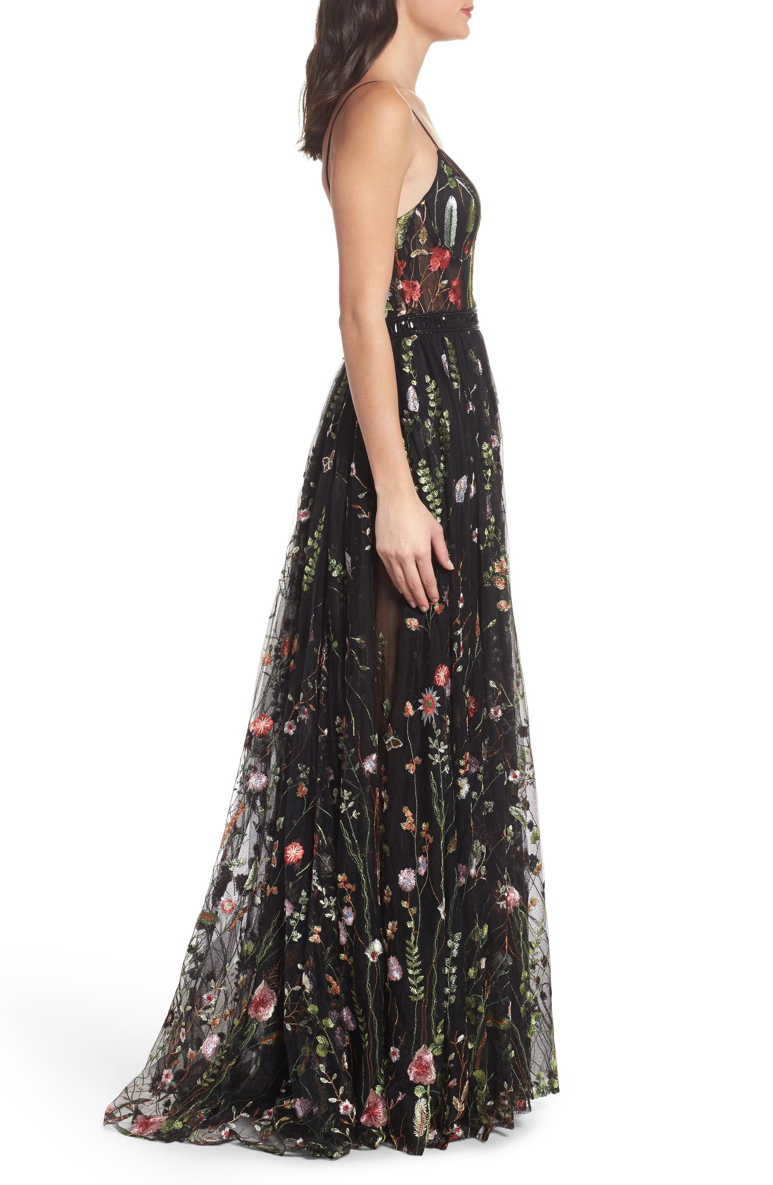 Embroidered Bustier Gown,                             Alternate thumbnail 3, color,                             Black/Multi